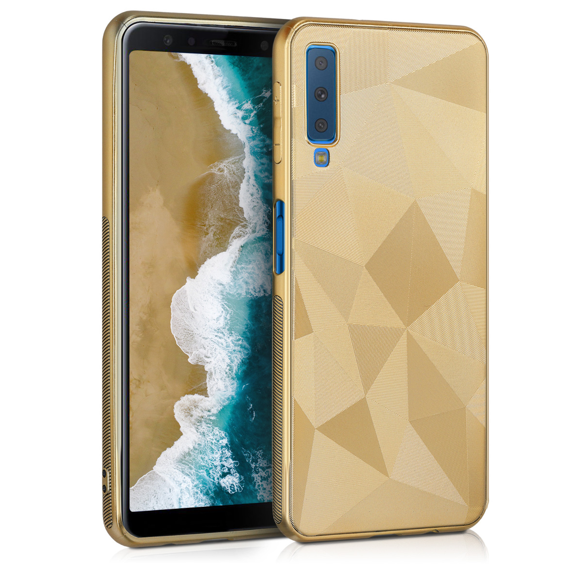Kvalitní silikonové TPU pouzdro pro Samsung A7 (2018) - Prisma Gold