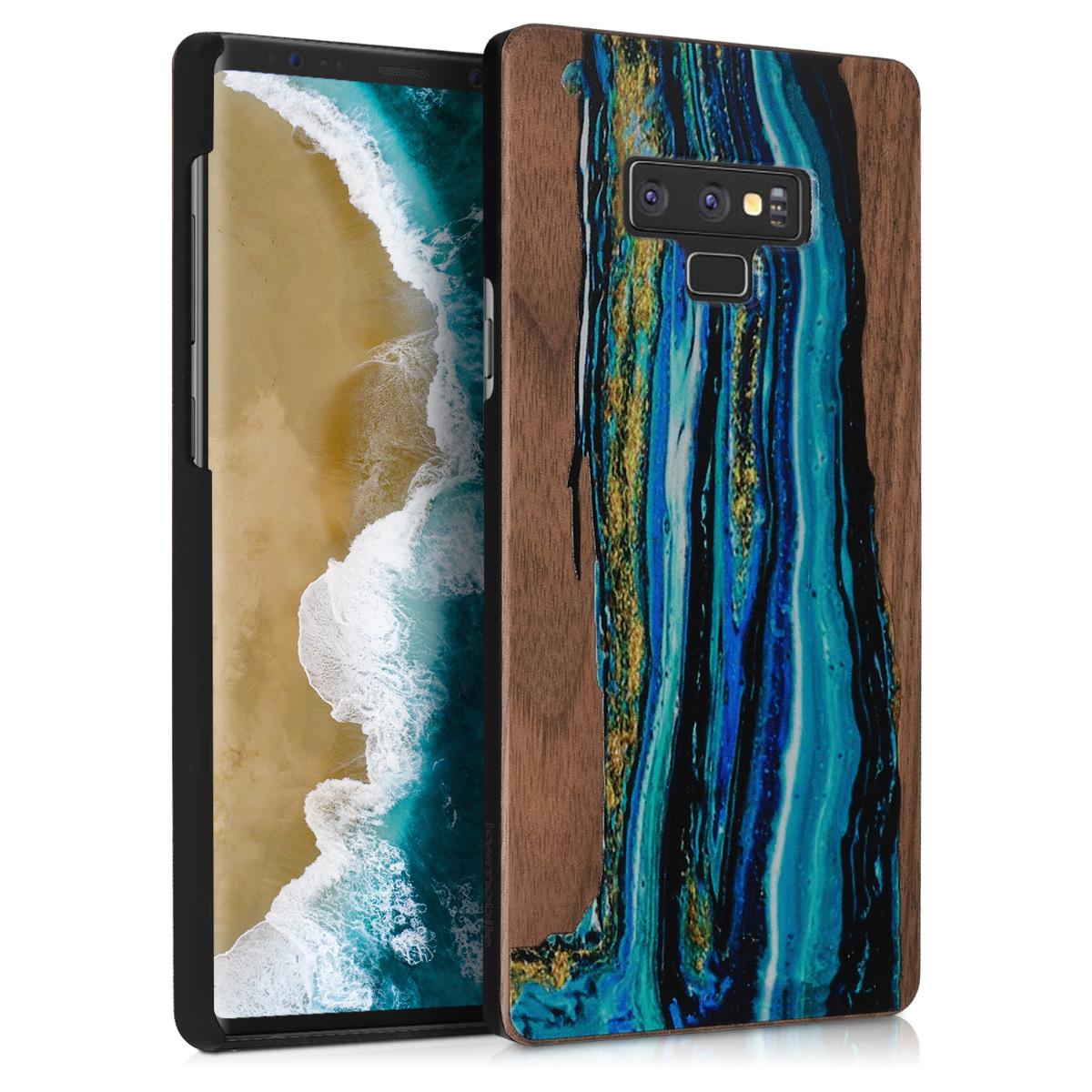 Dřevěné pouzdro pro Samsung Note 9 - Akvarel Waves modré / Hnědá