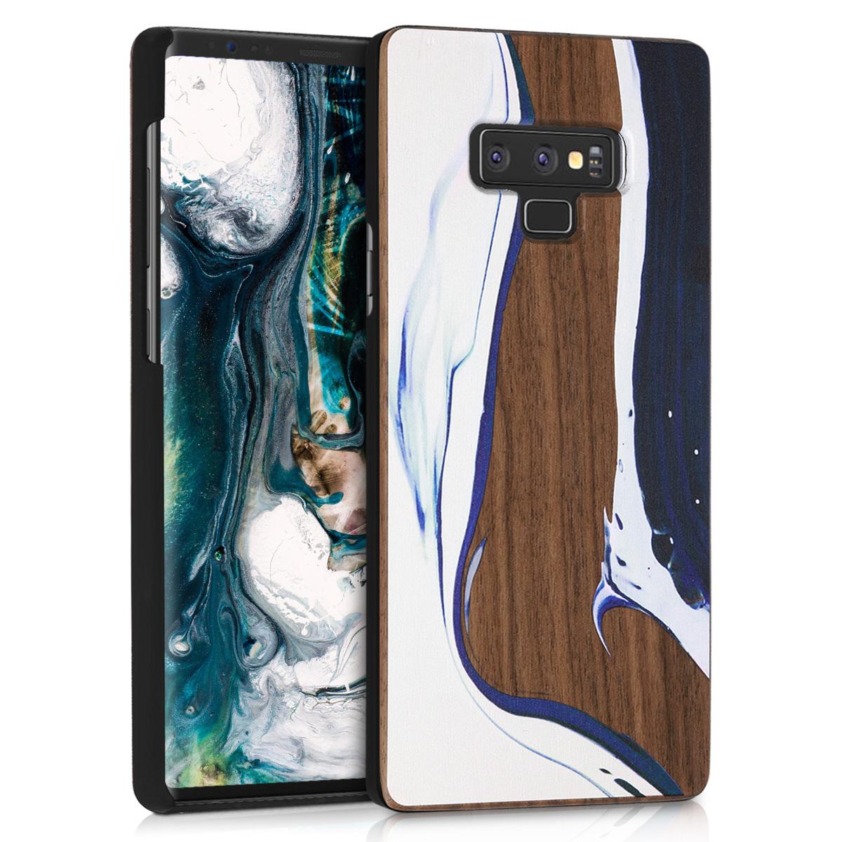 Dřevěné pouzdro pro Samsung Note 9 - Akvarel Waves bílá / modré / hnědá