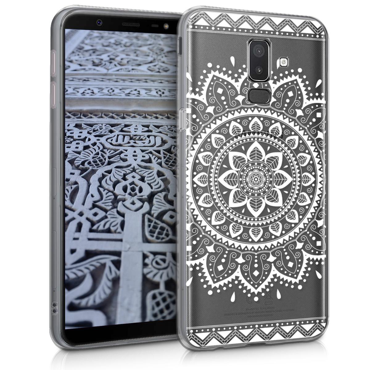 Kvalitní silikonové TPU pouzdro pro Samsung J8   On8 - Aztec Sunkvětiny bílé / transparentní
