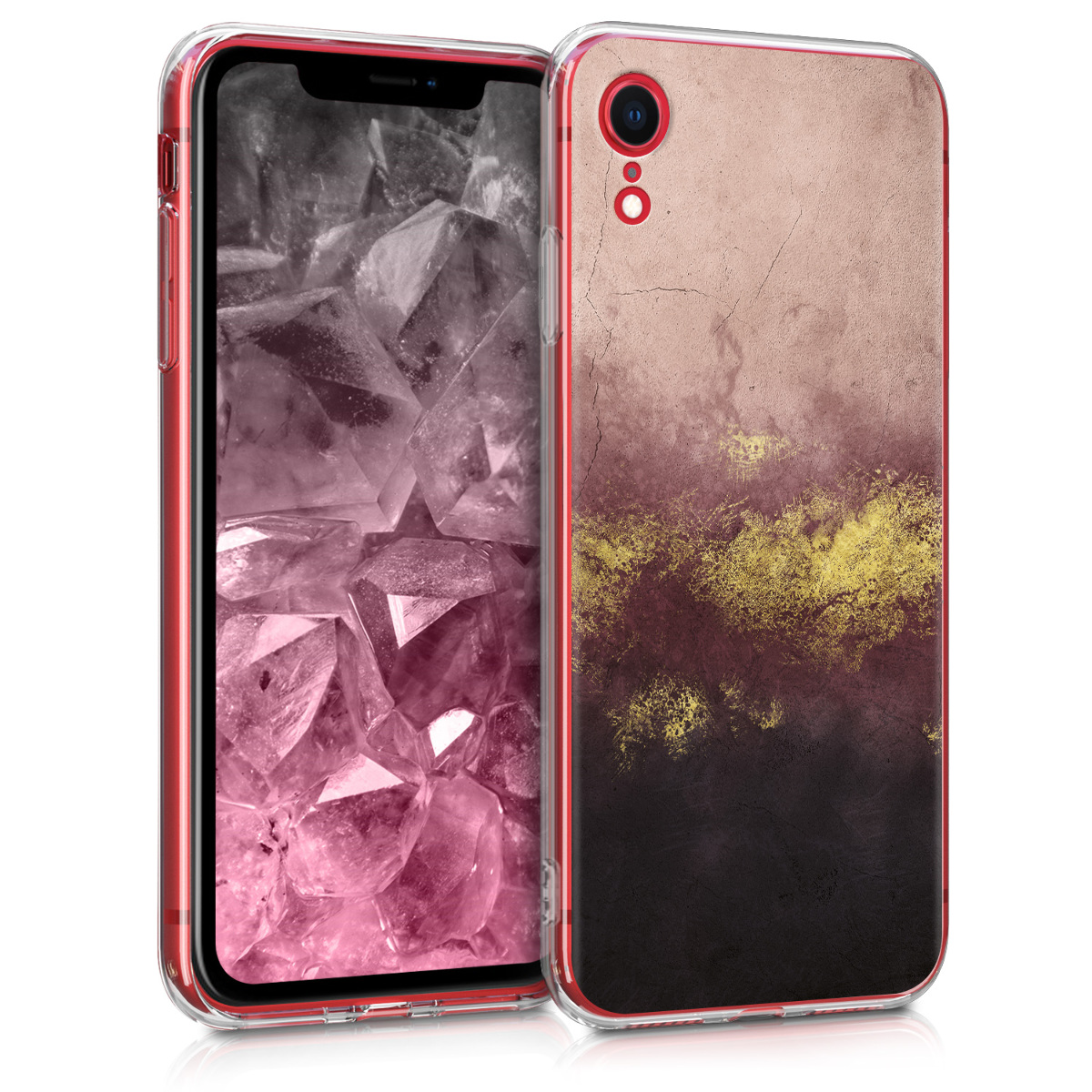 Kvalitní silikonové TPU pouzdro pro Apple iPhone XR - Metallic Granite Gold | Dusty Pink | Black