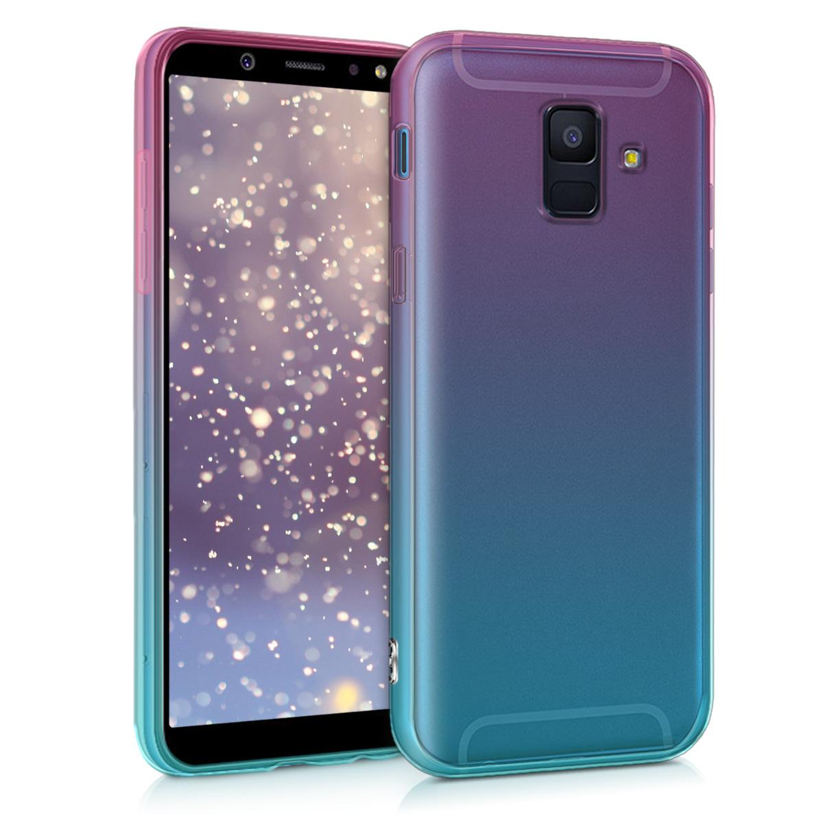 Kvalitní silikonové TPU pouzdro pro Samsung A6 (2018) - Bicolor tmavě růžová / modré / průhledná
