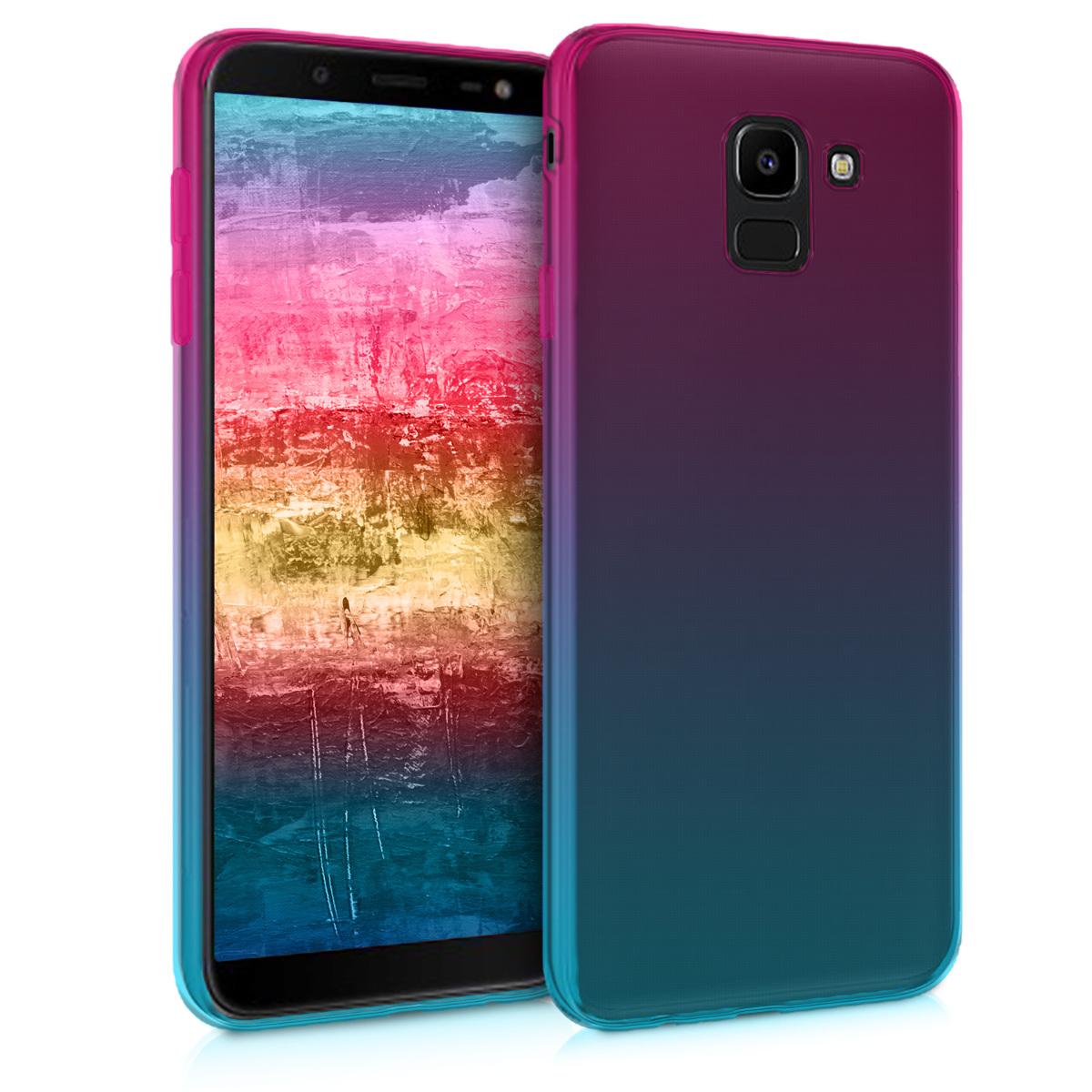 Kvalitní silikonové TPU pouzdro pro Samsung J6 - Bicolor tmavě růžová / modré / průhledná
