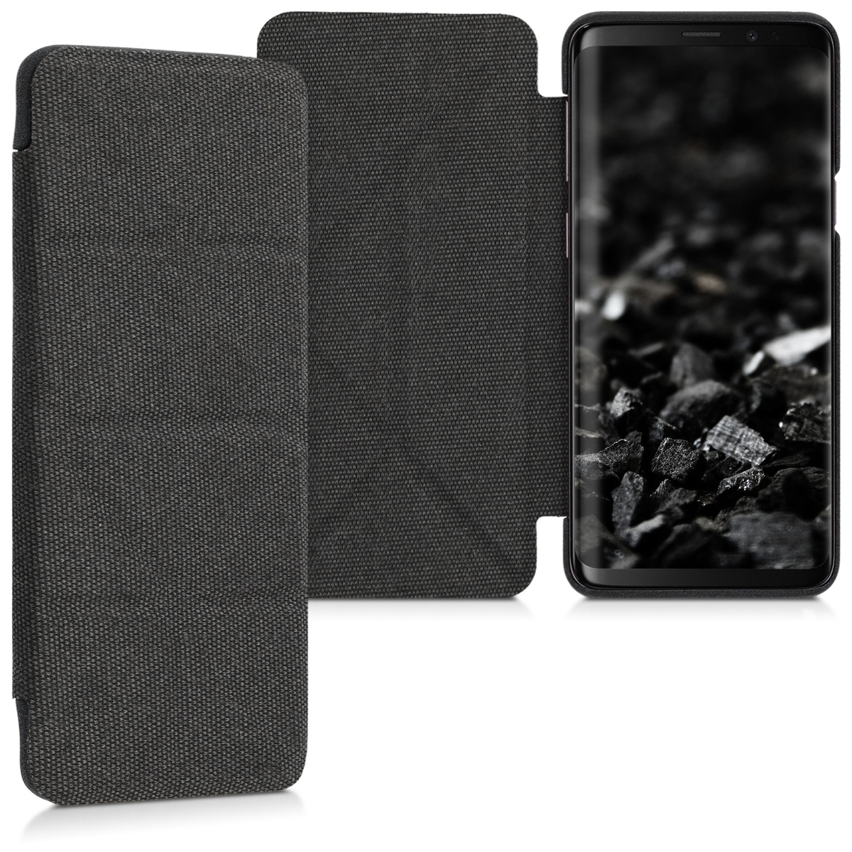 Pouzdro pro Samsung Galaxy S9 - Origami Textured Fabric Plastic Flip Cover with Stand - Dark Grey