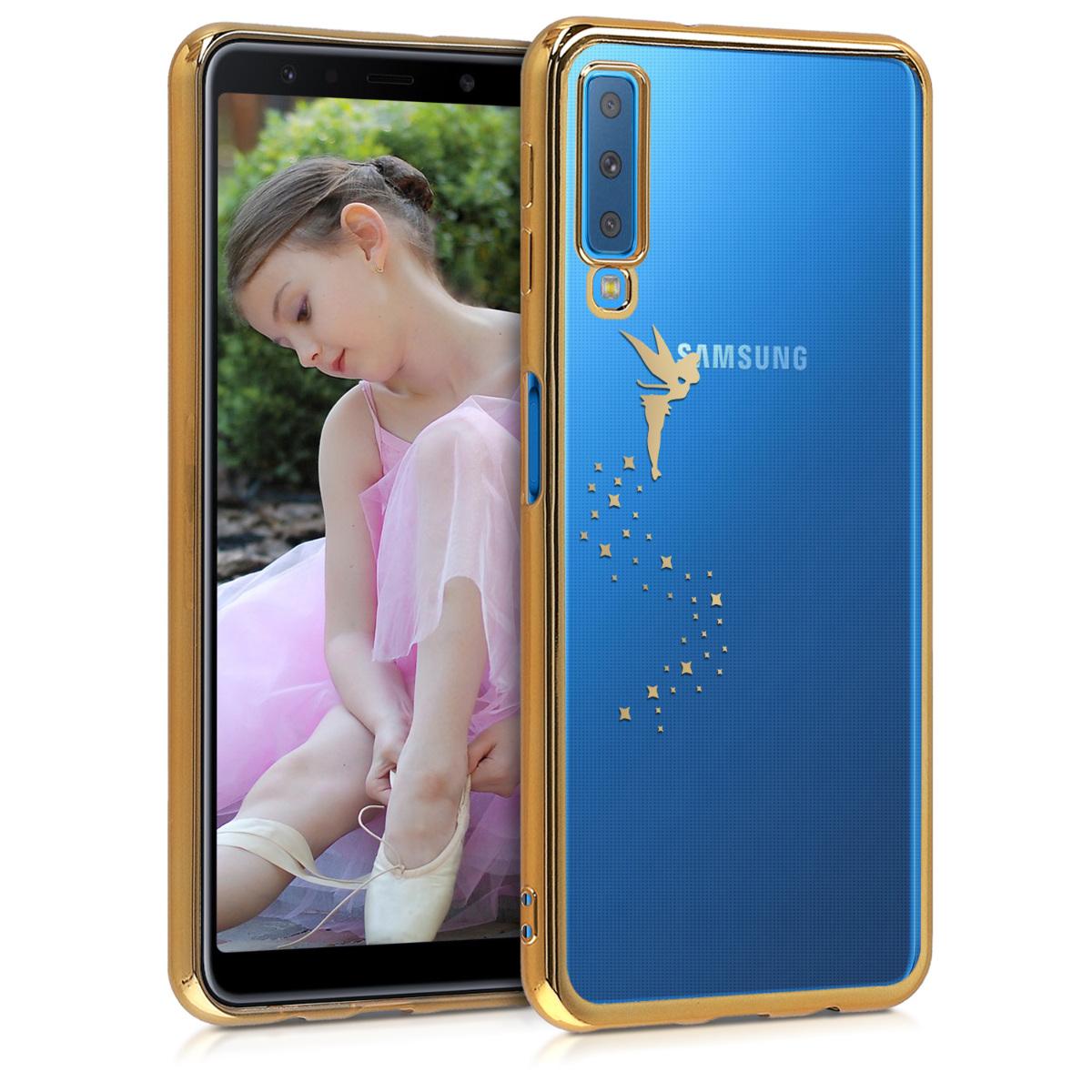 Kvalitní silikonové TPU pouzdro pro Samsung A7 (2018) - Víla Gold / transparentní