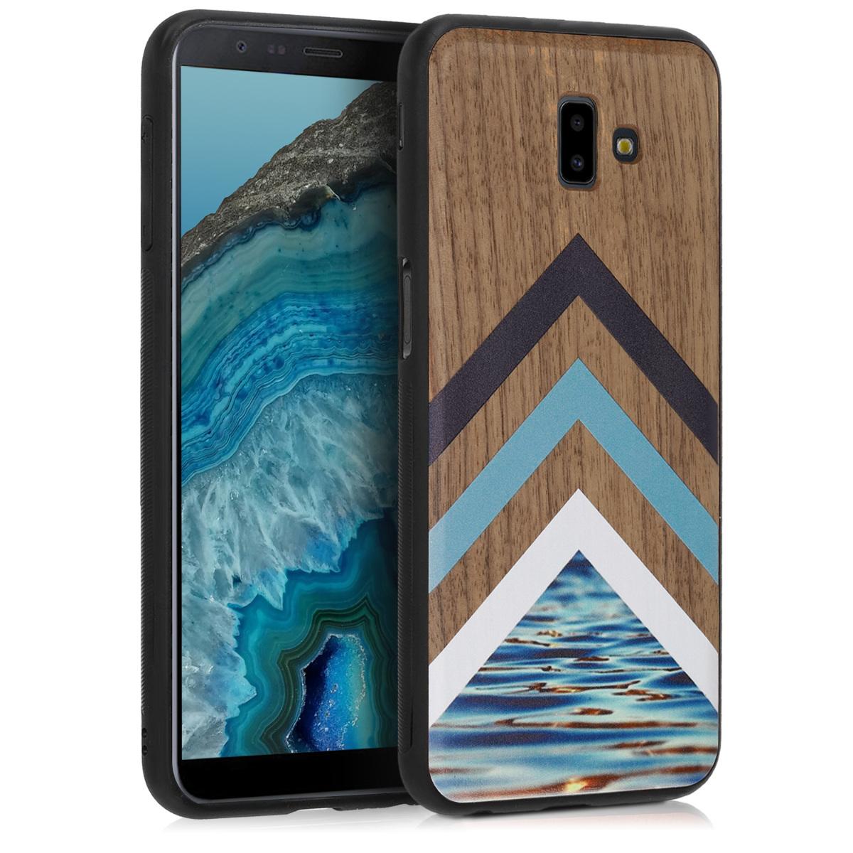 Dřevěné pouzdro pro Samsung J6+ | J6 Plus DUOS - Wood and Water světle  modré / bílé / Dark Brown