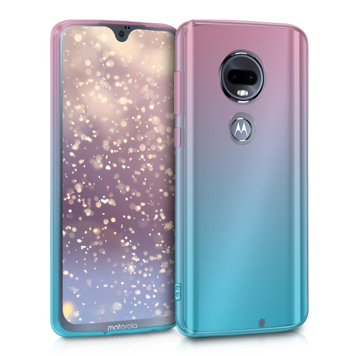 Kvalitní silikonové TPU pouzdro | obal pro Motorola Moto G7 / Moto G7 Plus - Dvoubarevná tmavě růžová / modrá / průhledná