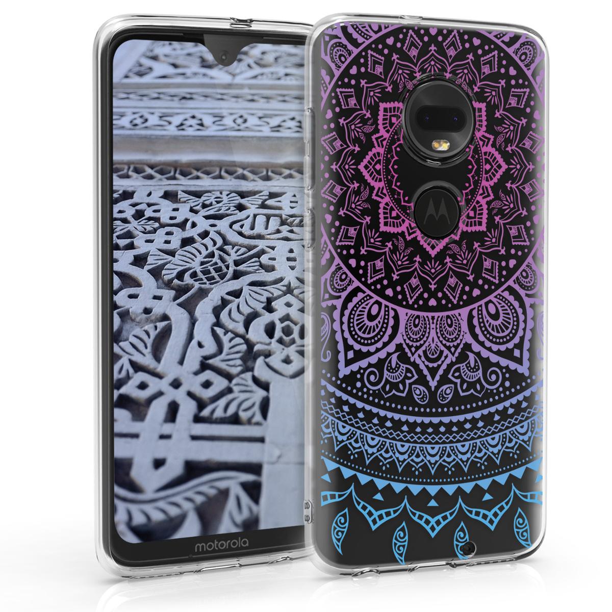 Kvalitní silikonové TPU pouzdro | obal pro Motorola Moto G7 / Moto G7 Plus - Indiánské slunce Modrá / Tmavě růžová / Průhledná