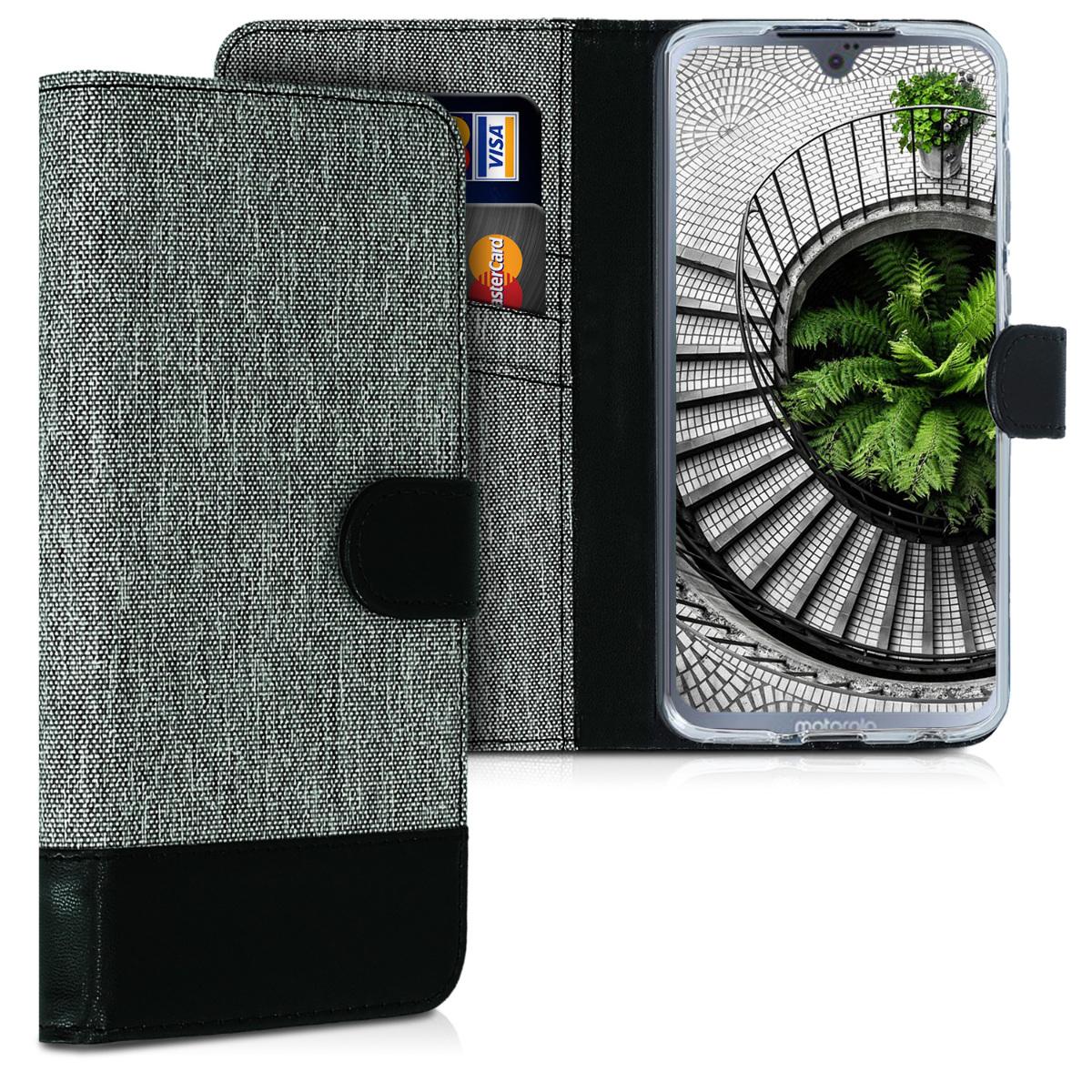Textilní látkové pouzdro | obal pro Motorola Moto G7 / Moto G7 Plus - Šedá / černá