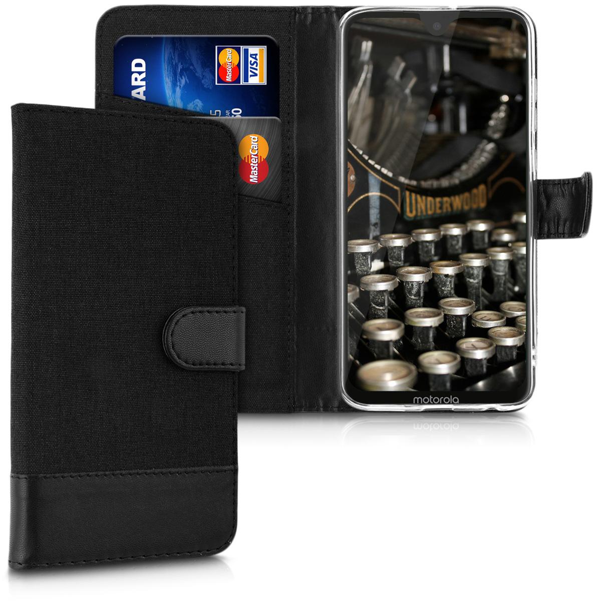 Textilní látkové pouzdro | obal pro Motorola Moto G7 / Moto G7 Plus - Antracitová / černá
