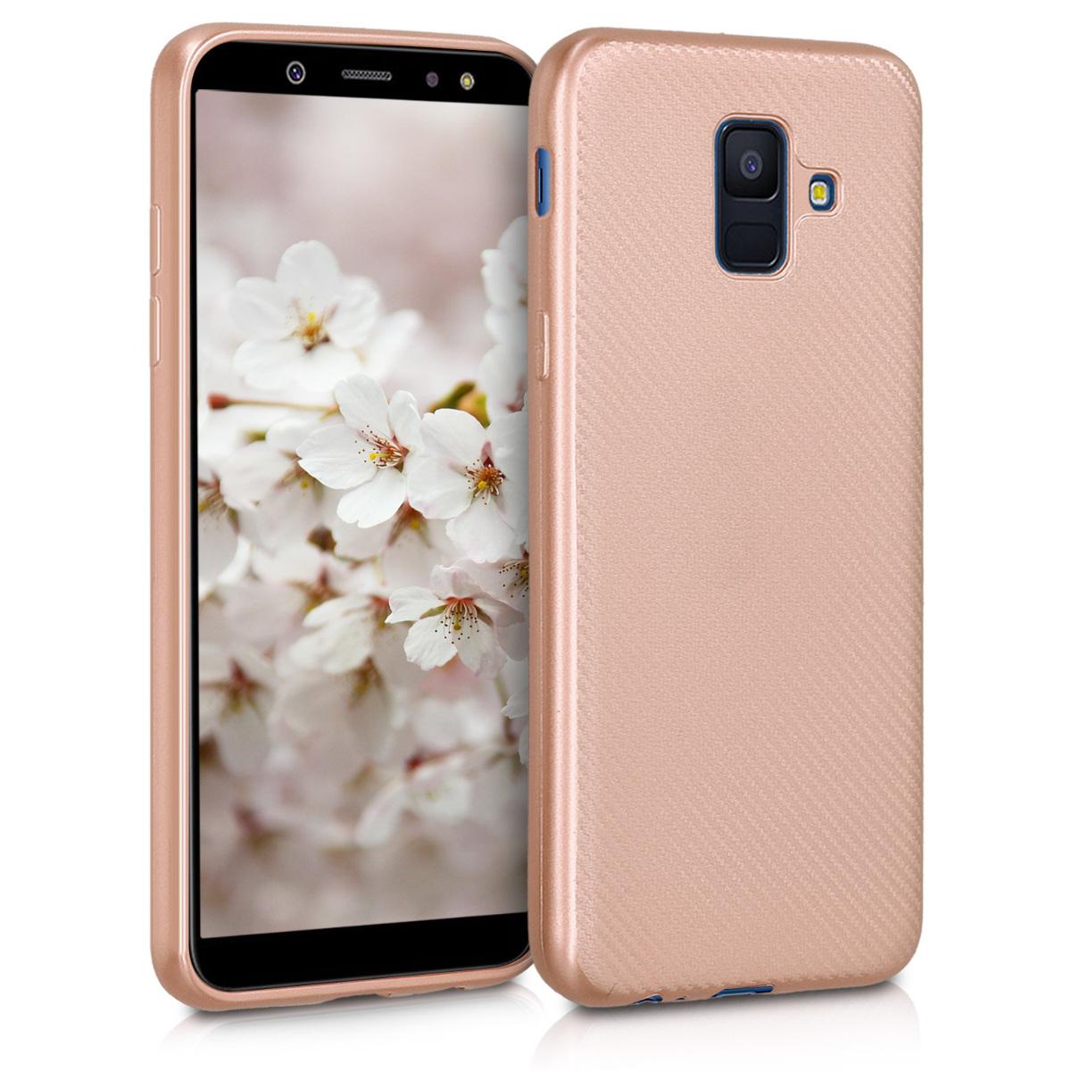 Kvalitní silikonové TPU pouzdro pro Samsung A6 (2018) - Carbon metalické starorůžové rosegold