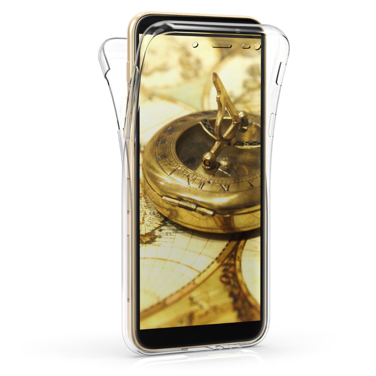 Kvalitní silikonové TPU pouzdro pro Samsung J6 - Travel Outline černé / transparentní