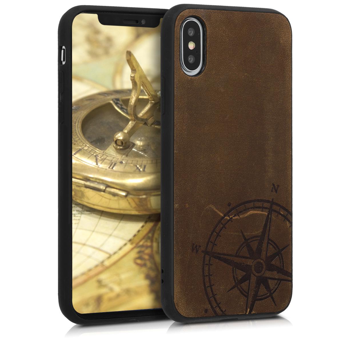 Kožené pouzdro pro Apple iPhone XS - Navigační Compass Brown