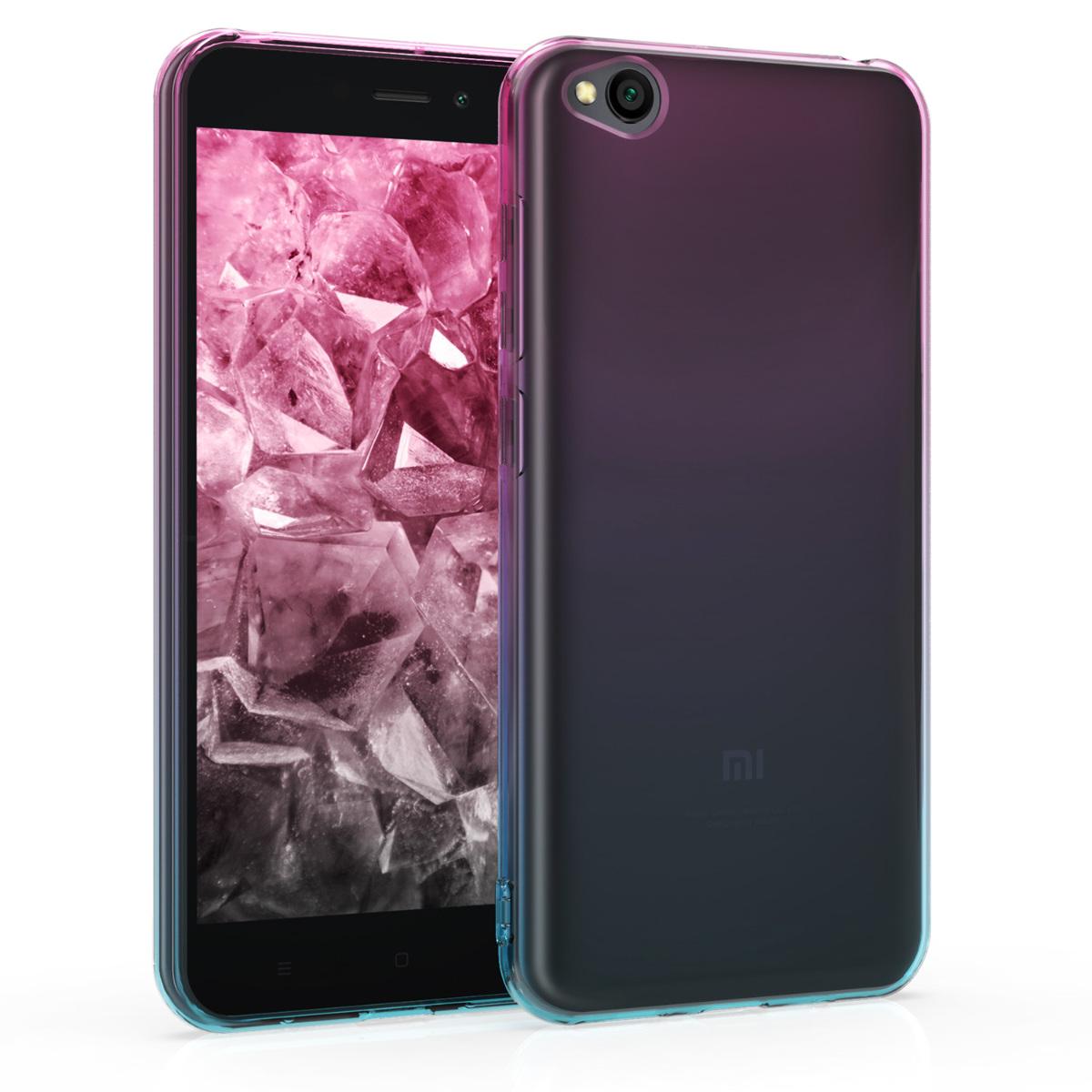 Kvalitní silikonové TPU pouzdro | obal pro Xiaomi Redmi Go - Bicolor tmavě růžová / modrý / průhledná