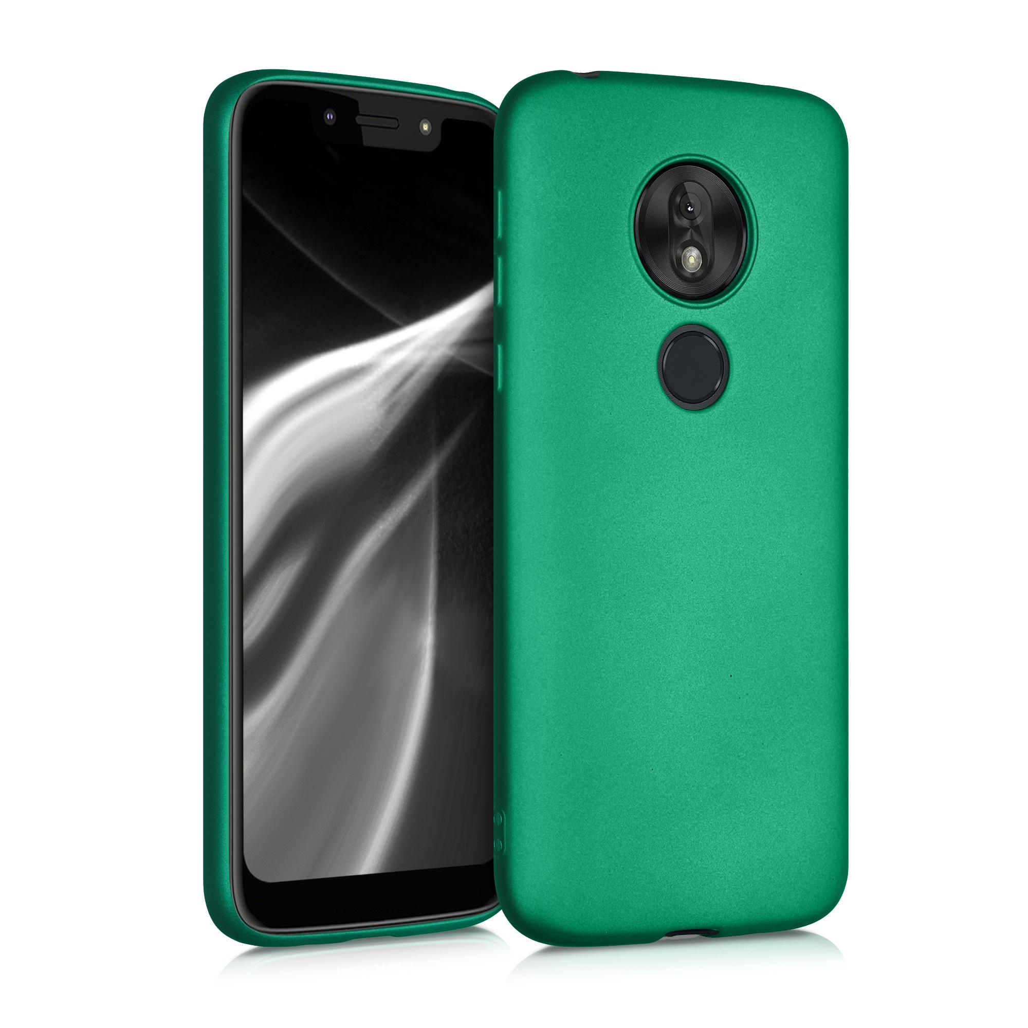 Kvalitní silikonové TPU pouzdro   obal pro Motorola Moto G7 Play (EU-Version) - Tmavě zelená metalíza