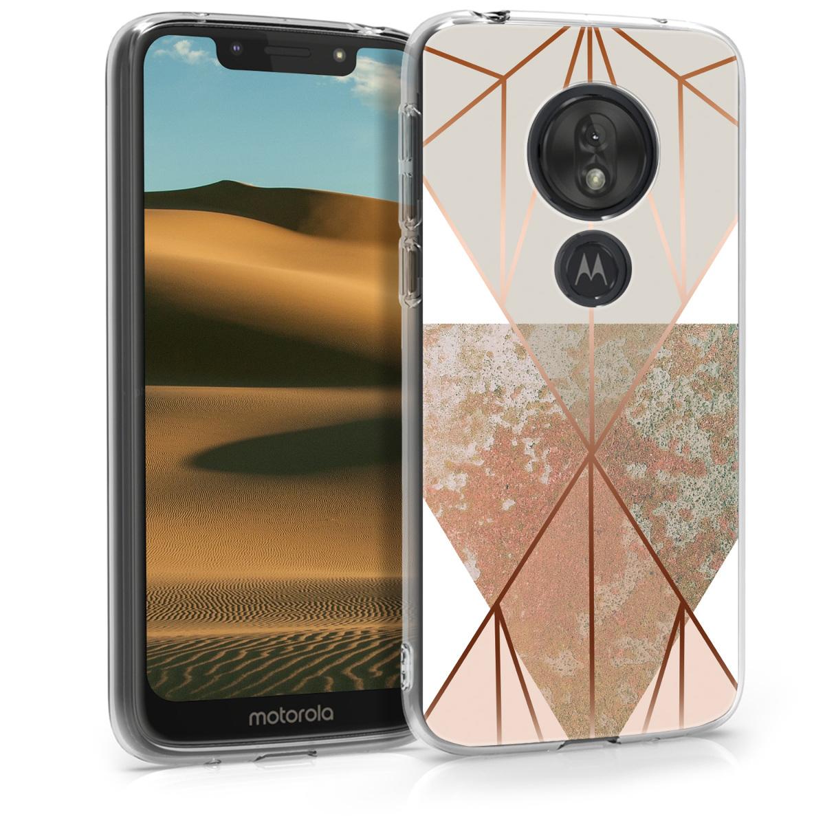 Kvalitní silikonové TPU pouzdro   obal pro Motorola Moto G7 Play (EU-Version) - Trojúhelníkové tvary Béžová / růžově zlatá / bílá
