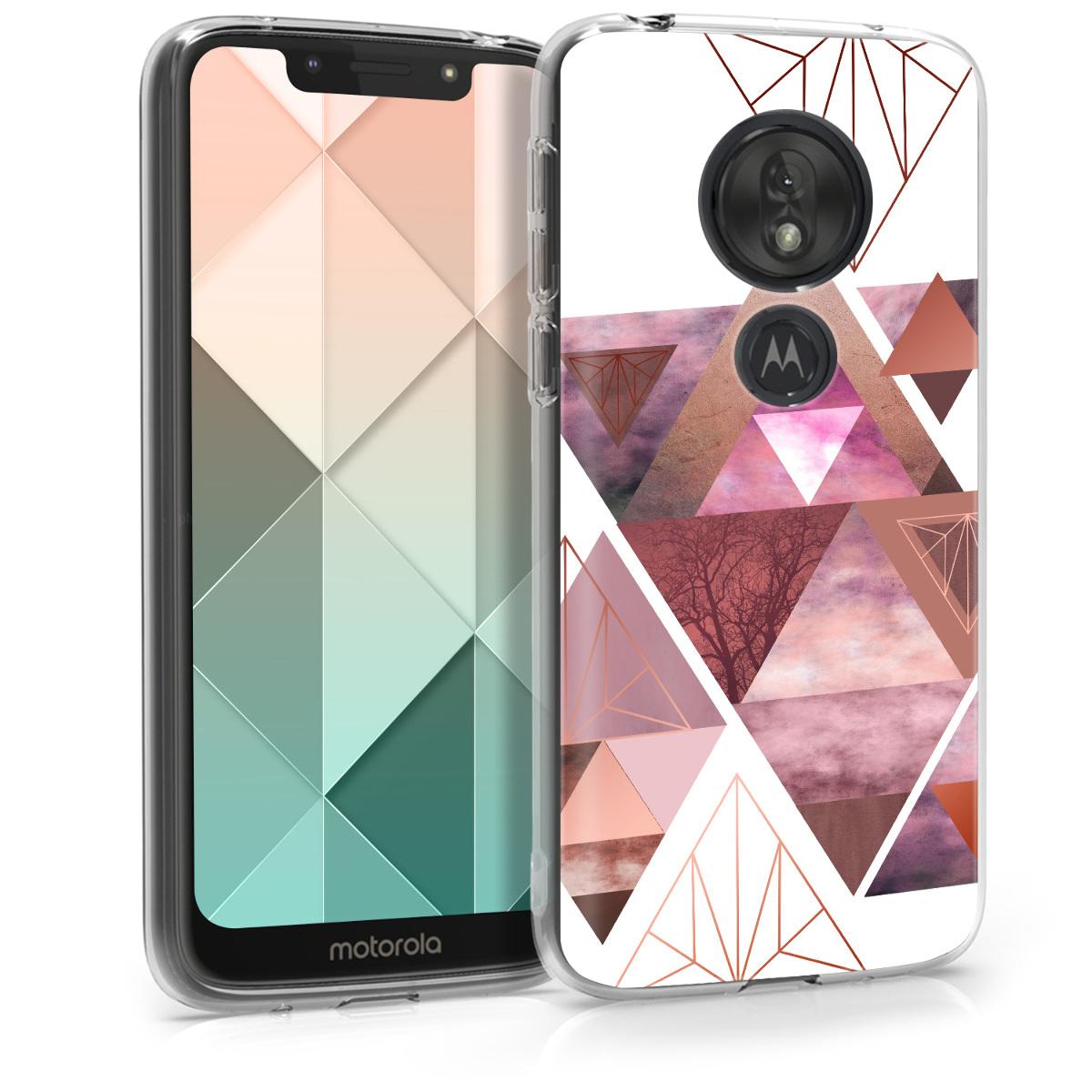 Kvalitní silikonové TPU pouzdro   obal pro Motorola Moto G7 Play (EU-Version) - Patchworkové trojúhelníky Světle růžová / růžově zlatá / bílá