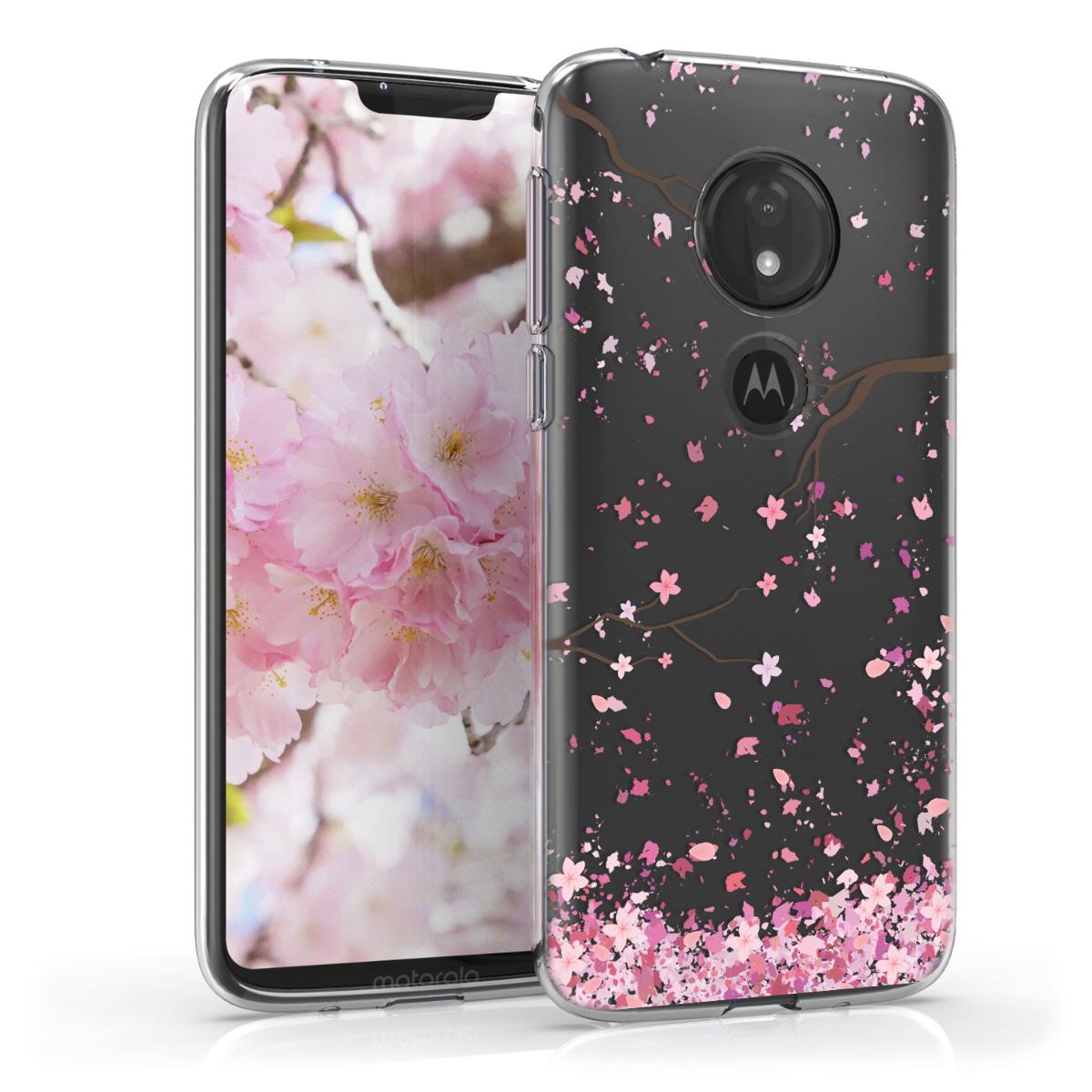 Kvalitní silikonové TPU pouzdro   obal pro Motorola Moto G7 Play (EU-Version) - Třešňové květy Růžová / Tmavě hnědá / Transparentní