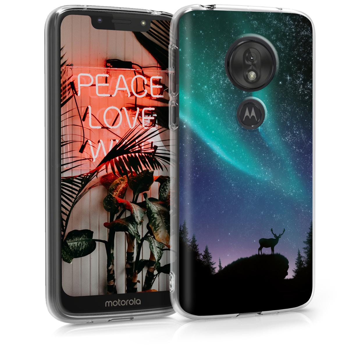 Kvalitní silikonové TPU pouzdro   obal pro Motorola Moto G7 Play (EU-Version) - Aurora Tyrkysová / Modrá / Černá