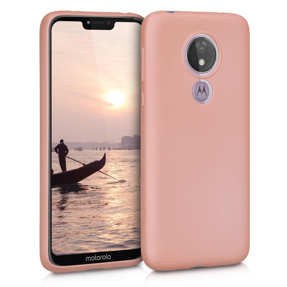 Kvalitní silikonové TPU pouzdro | obal pro Motorola Moto G7 Power - Metalická růžově zlatá
