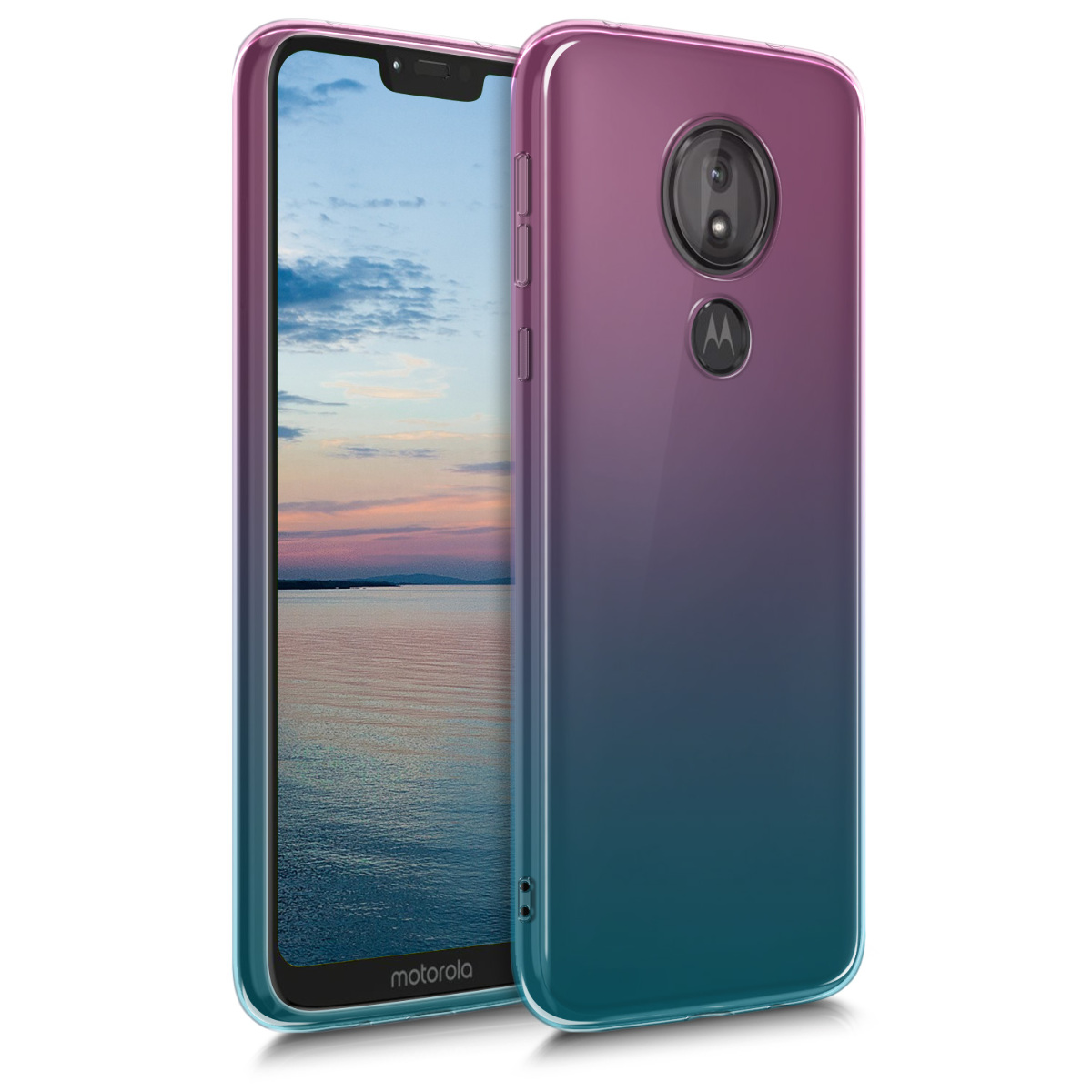 Kvalitní silikonové TPU pouzdro | obal pro Motorola Moto G7 Power - Dvoubarevný tmavě růžový / modrý / průhledný