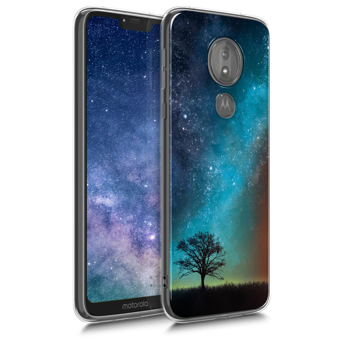 Kvalitní silikonové TPU pouzdro | obal pro Motorola Moto G7 Power - Cosmic Nature Modrá / Šedá / Černá