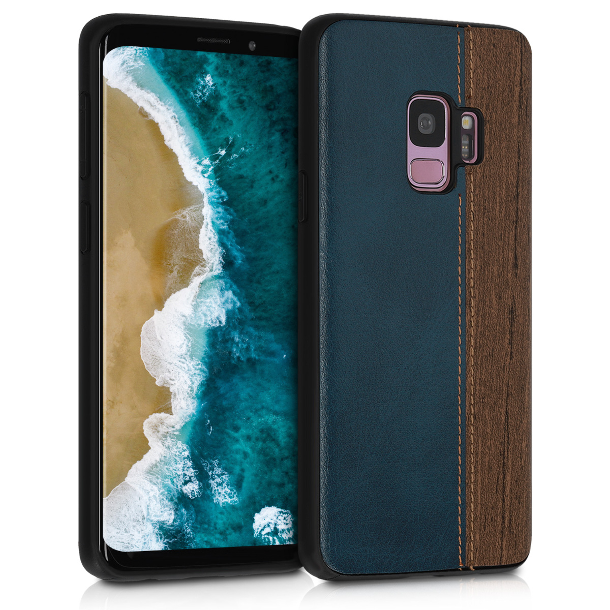 Pouzdro pro Samsung Galaxy S9 - Hard Plastic Anti-Scratch Shockproof Protective Smartphone Cover - Wood Look Faux Leather Dark Blue / Brown