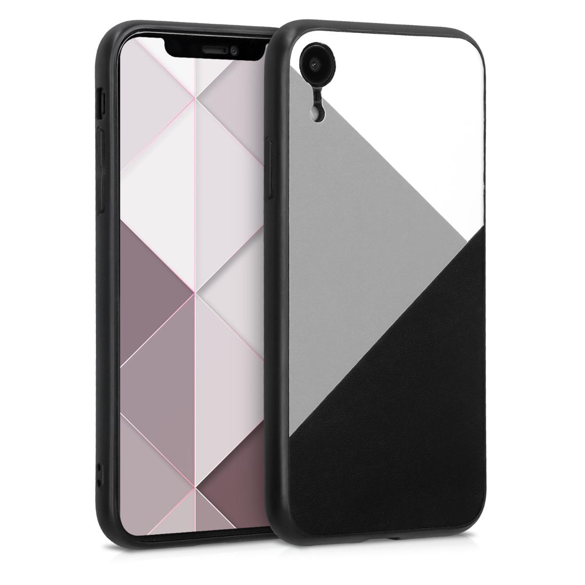 Kvalitní plastové pouzdro pro Apple iPhone XR - Trojúhelník geometrický bílá | tmavě šedá | černá