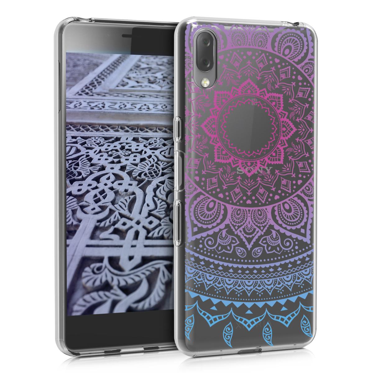 Kvalitní silikonové TPU pouzdro | obal pro Sony Xperia L3 - indické slunce modré / tmavě růžová / průhledné