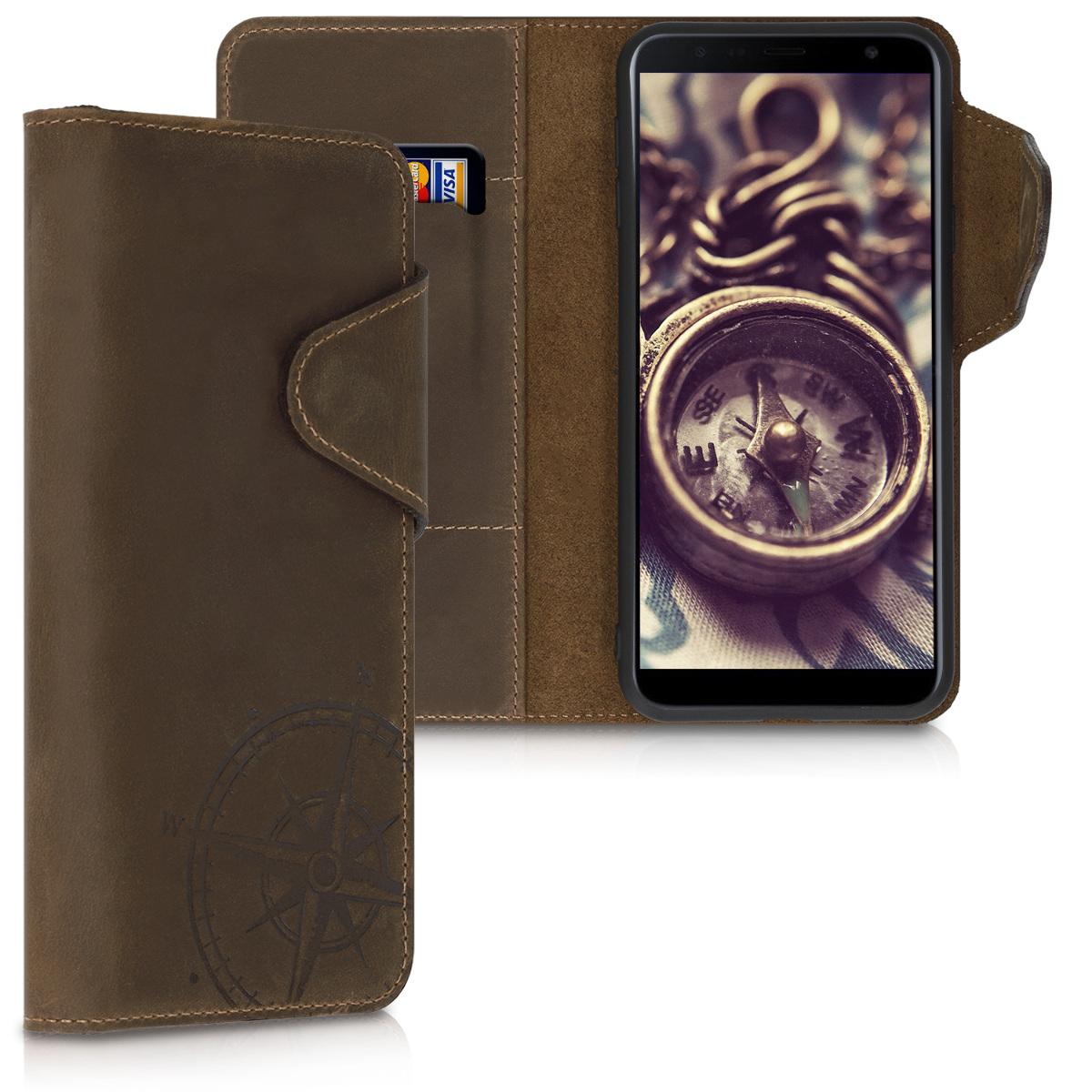 Kožené pouzdro pro Samsung J4+ | J4 Plus DUOS - Navigační Compass Brown