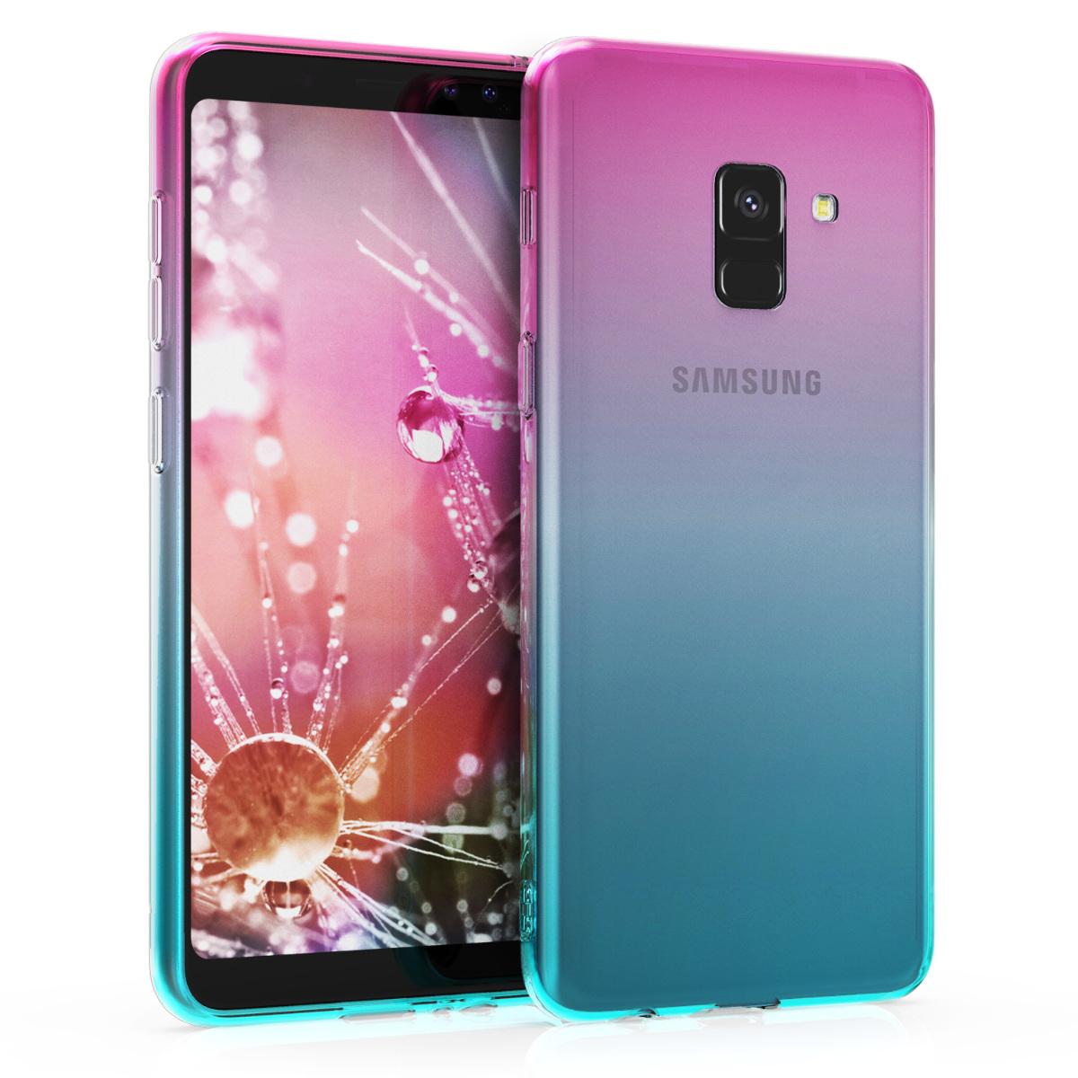 AKCE IHNED! Kvalitní silikonové TPU pouzdro pro Samsung A8 (2018) - růžová modré