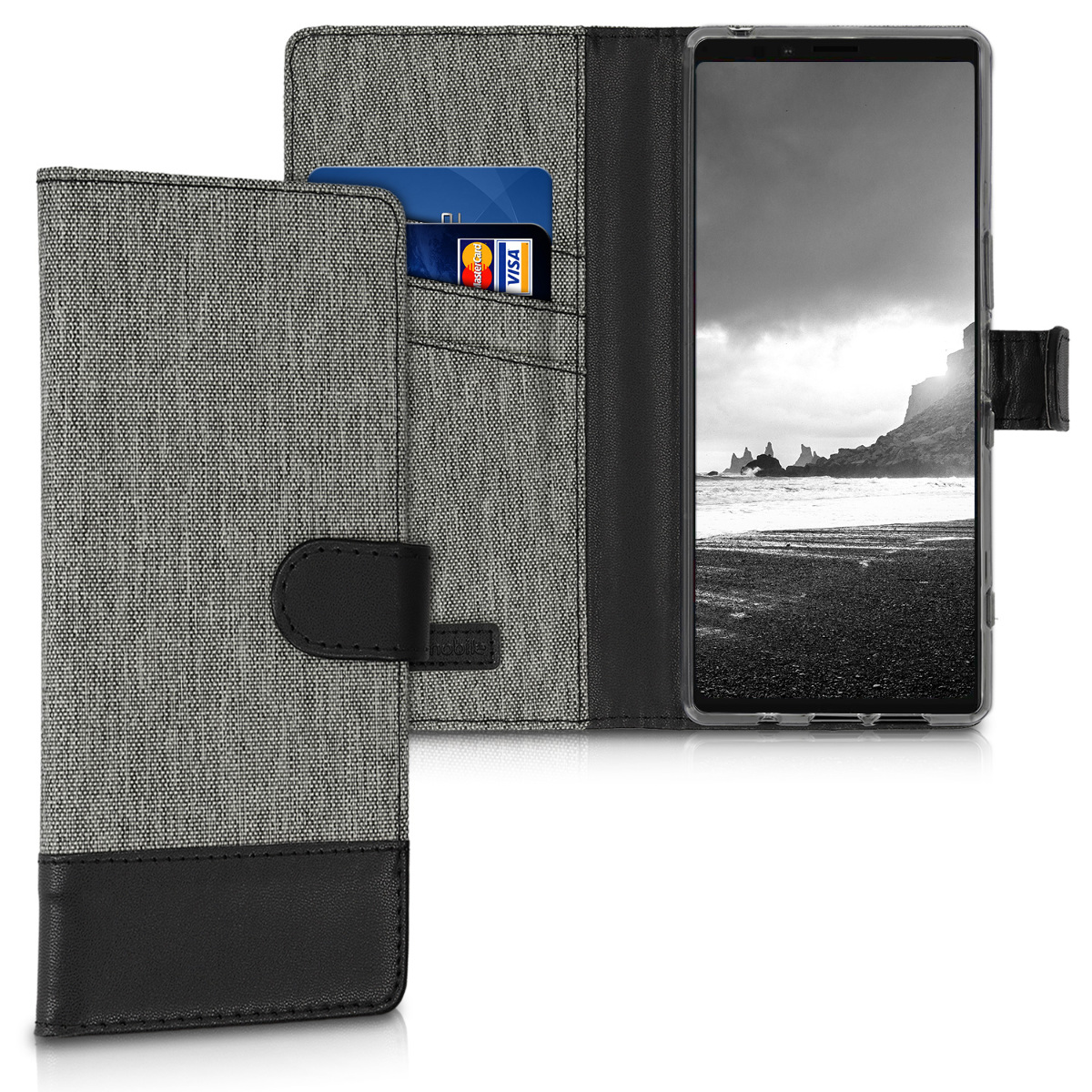 Textilní látkové pouzdro | obal pro Sony Xperia 1 - šedé/ černé