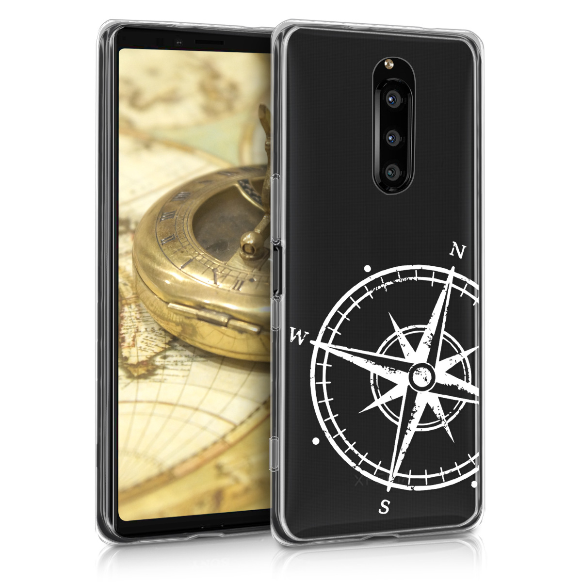 Kvalitní silikonové TPU pouzdro | obal pro Sony Xperia 1 - Navigační kompas bílé / průhledné