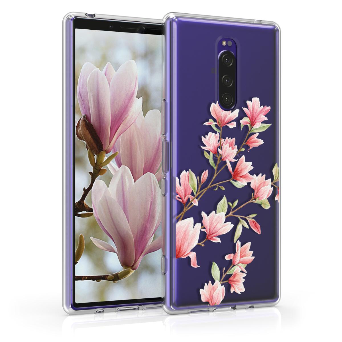 Kvalitní silikonové TPU pouzdro | obal pro Sony Xperia 1 - Magnolie růžové / bílé / průhledné