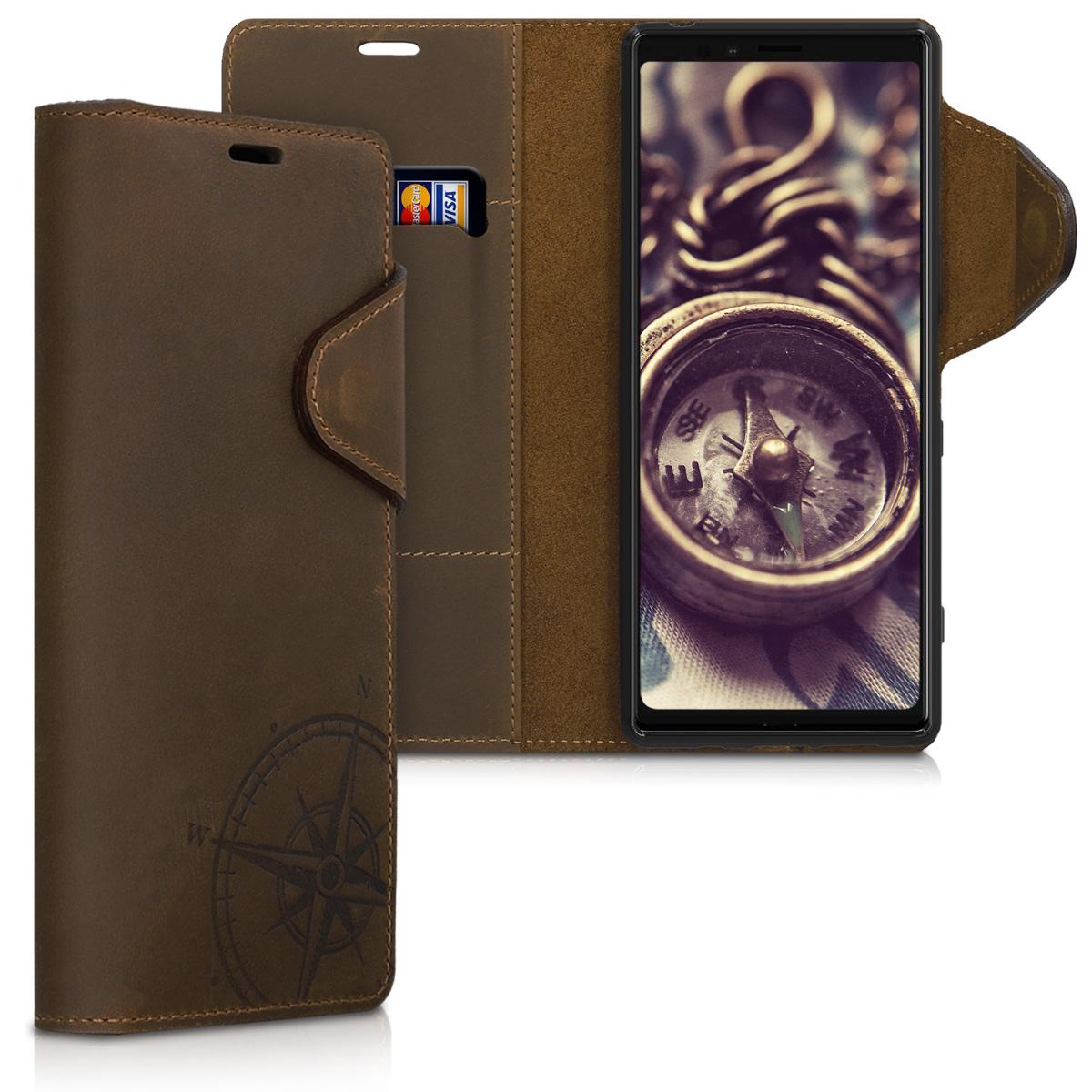Kožené pouzdro | obal pro Sony Xperia 1 - Navigační kompas hnědé