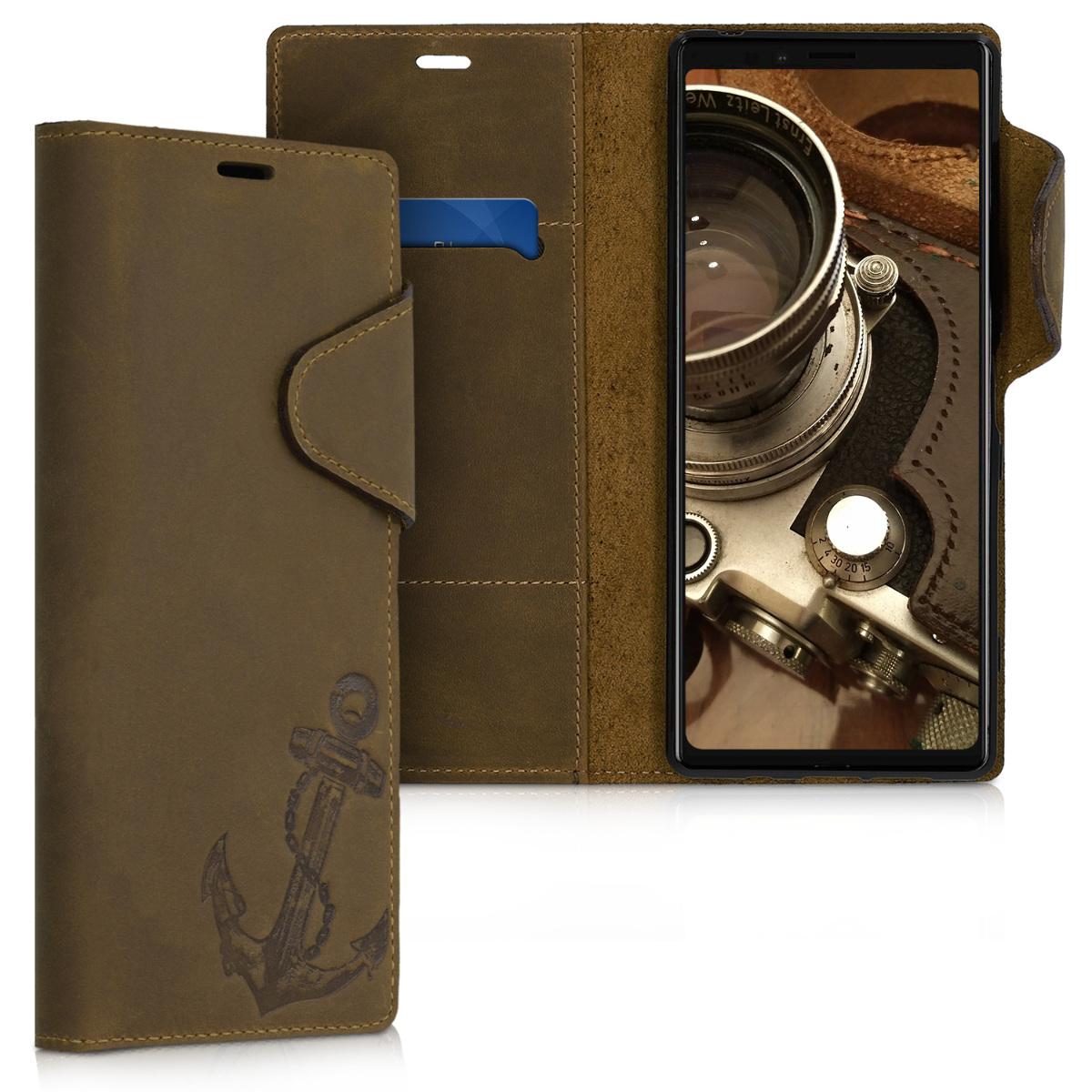 Kožené pouzdro | obal pro Sony Xperia 1 - Vintage Anchor hnědé