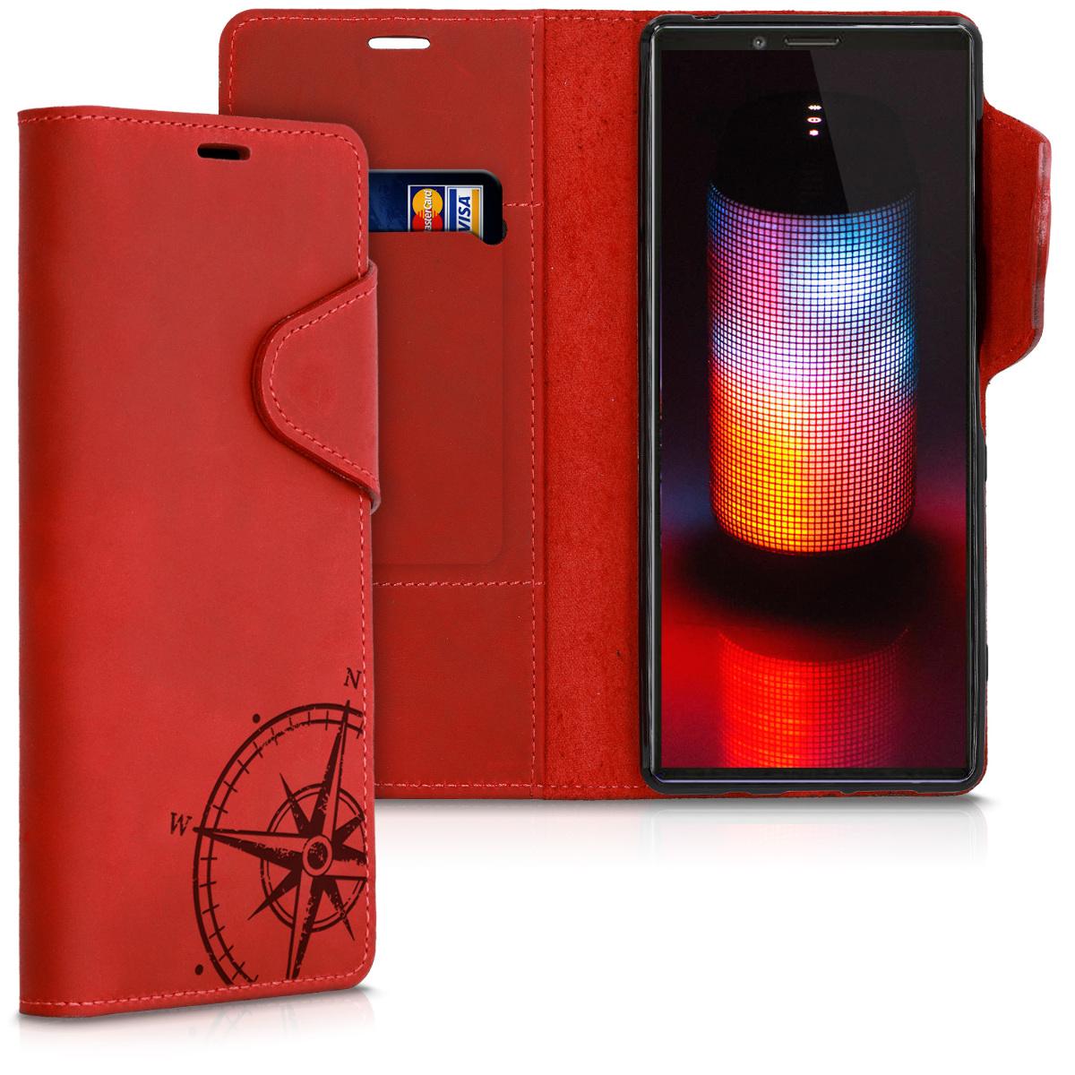 Kožené pouzdro | obal pro Sony Xperia 1 - Navigační kompas tmavě červená