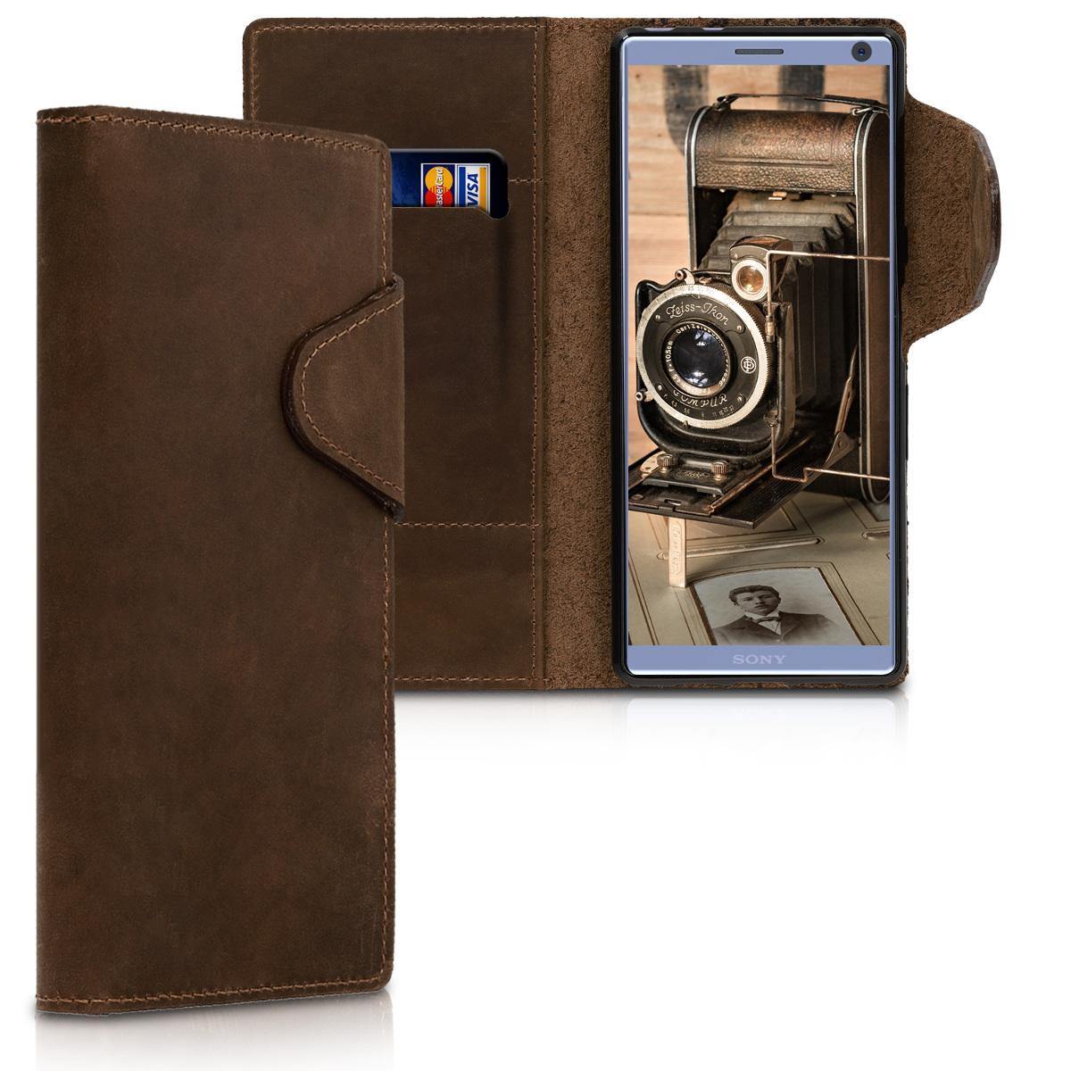 Kožené pouzdro | obal pro Sony Xperia 10 - hnědé