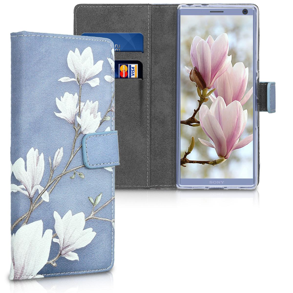 Kožené pouzdro | obal pro Sony Xperia 10 - Magnolie Taupe / bílá / modré šedá