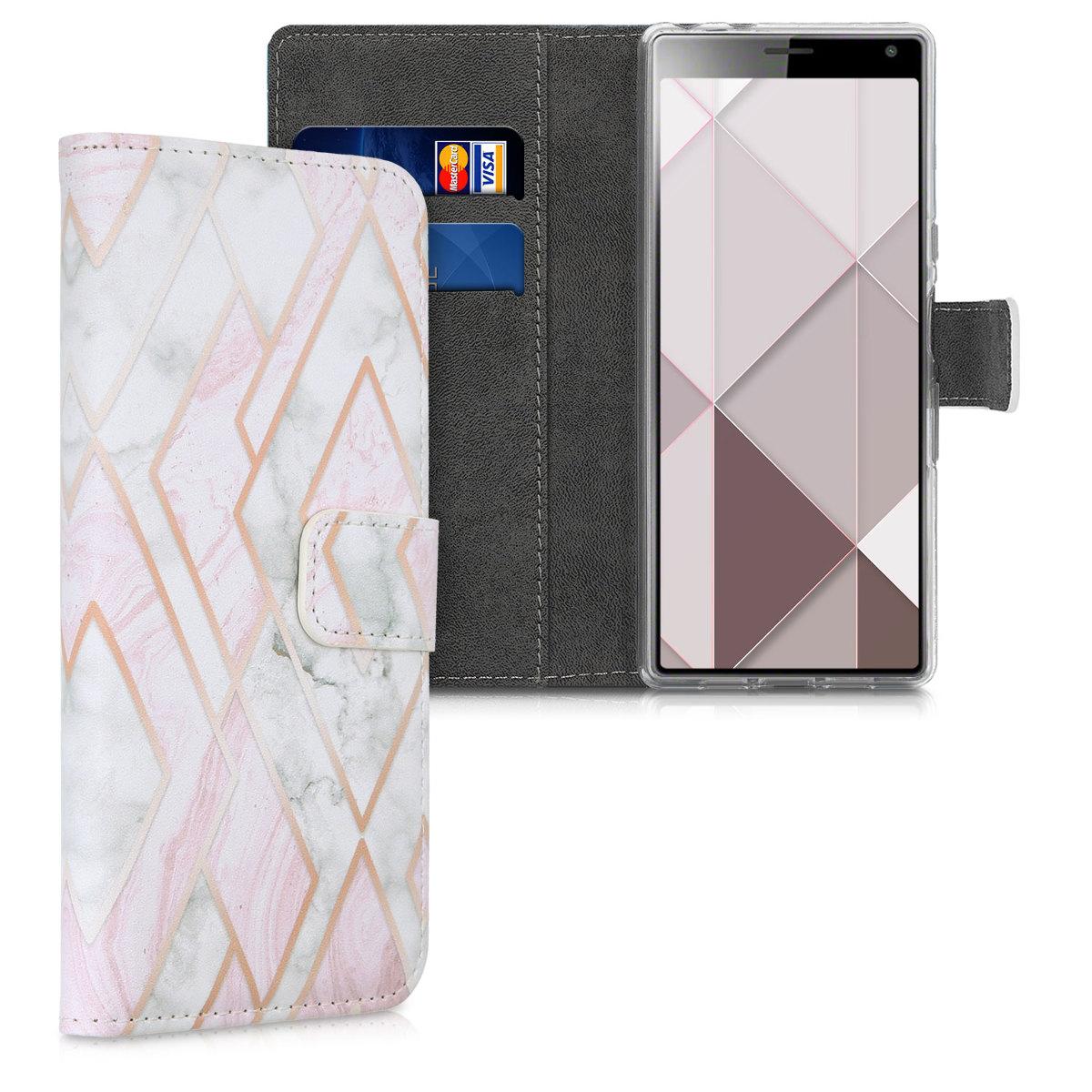 Kožené pouzdro | obal pro Sony Xperia 10 - Glory Mix 2 rosegold starorůžové / bílé / růžové Dusty