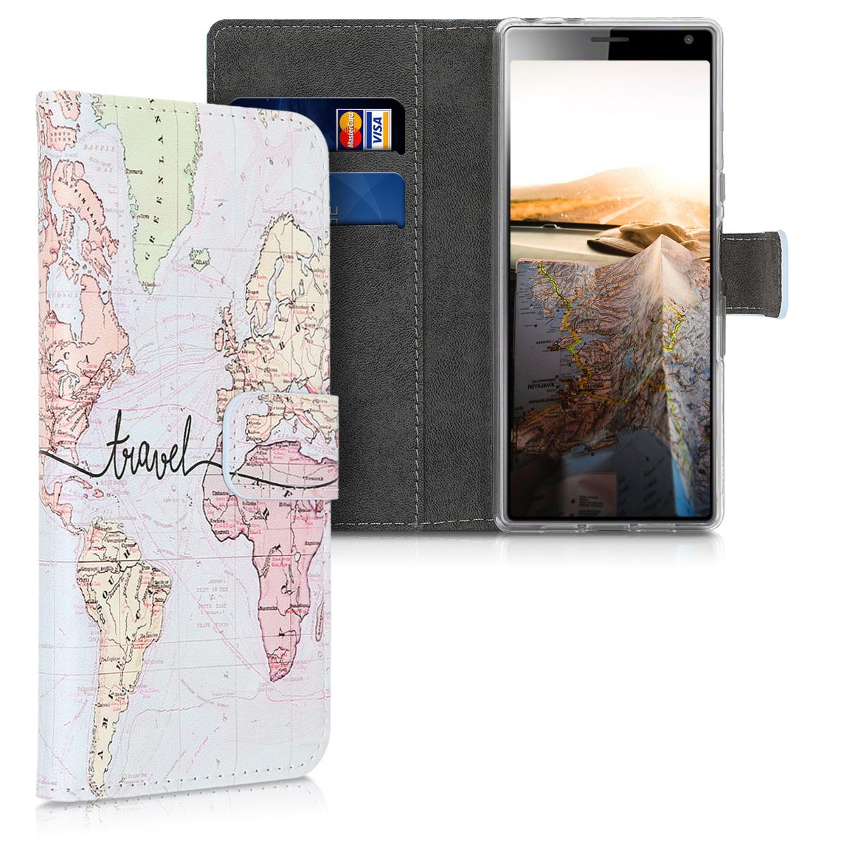 Kožené pouzdro | obal pro Sony Xperia 10 - Travel černé / vícebarevná