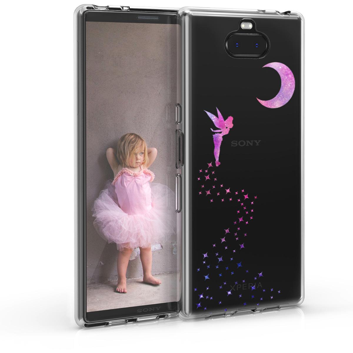 Kvalitní silikonové TPU pouzdro | obal pro Sony Xperia 10 Plus - víla tmavě růžové / fialové / průhledné