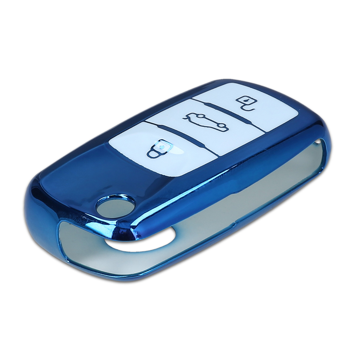 Blue High Gloss TPU Key Fob Cover with Varnished Buttons for VW Skoda SEAT 3 Button Car Key kwmobile Car Key Cover for VW Skoda Seat