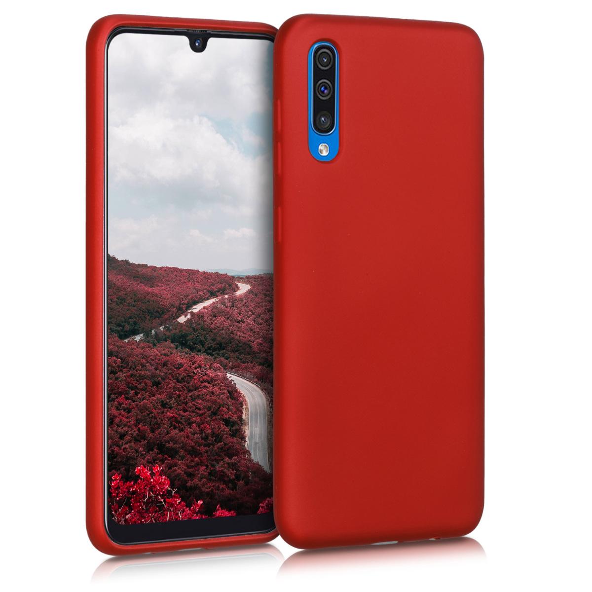 Kvalitní silikonové TPU pouzdro pro Samsung A50 - metalické tmavě červená