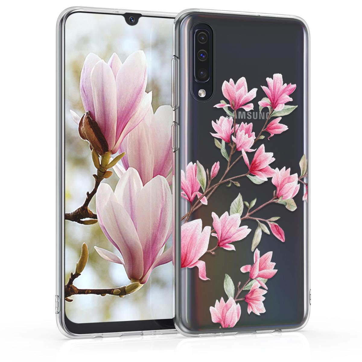 Kvalitní silikonové TPU pouzdro pro Samsung A50 - Magnolie růžové / bílé / transparentní