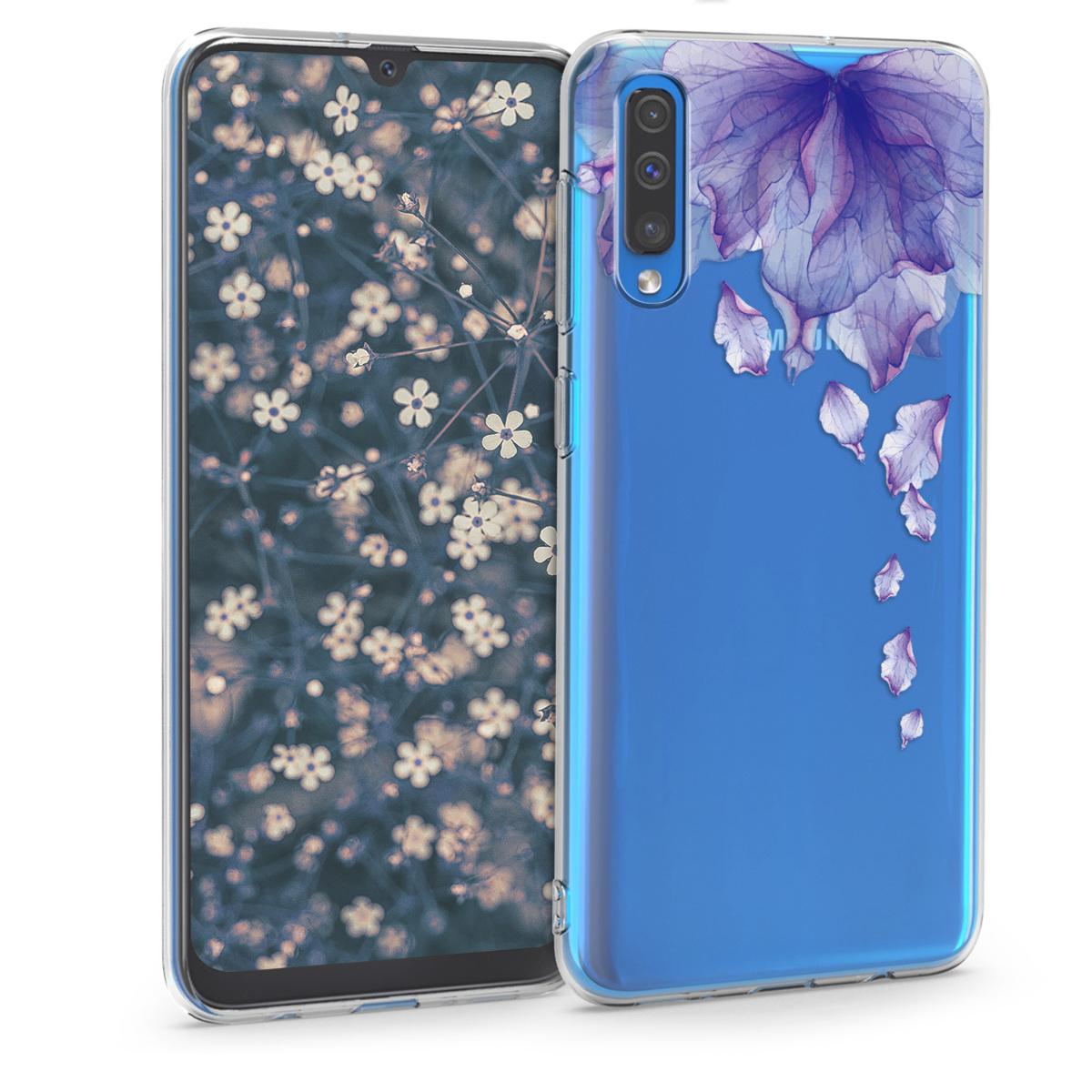 Kvalitní silikonové TPU pouzdro pro Samsung A50 - transparentníní květy tmavě modré / tmavě růžová / Transpare