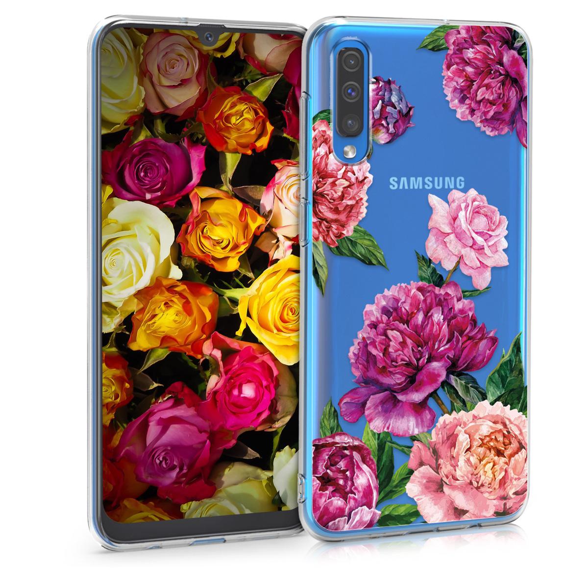 Kvalitní silikonové TPU pouzdro pro Samsung A50 - květiny Mix fialové / růžové / transparentní