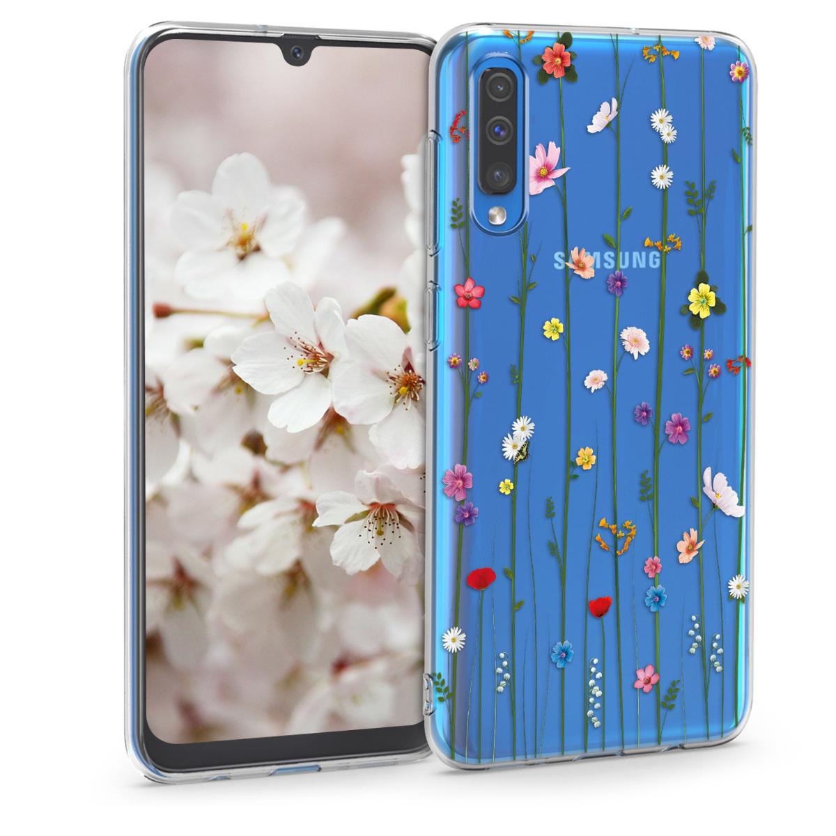 Kvalitní silikonové TPU pouzdro pro Samsung A50 - divoké květy Vines Multicolor / transparentní