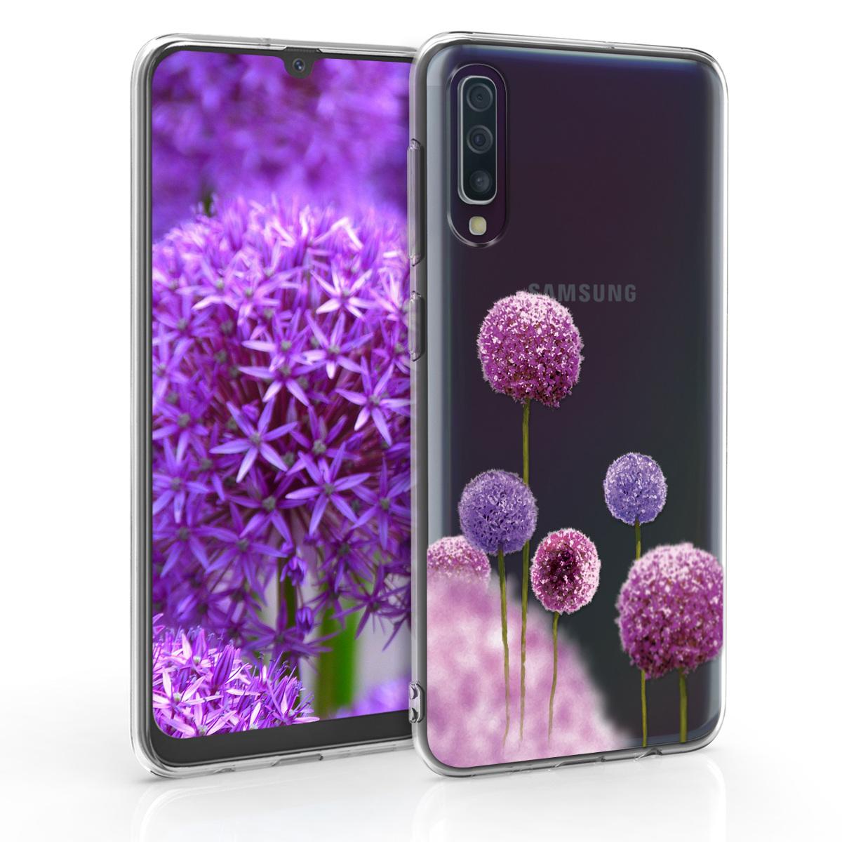 Kvalitní silikonové TPU pouzdro pro Samsung A50 - Květina koule tmavě růžová / fialová / transparentní