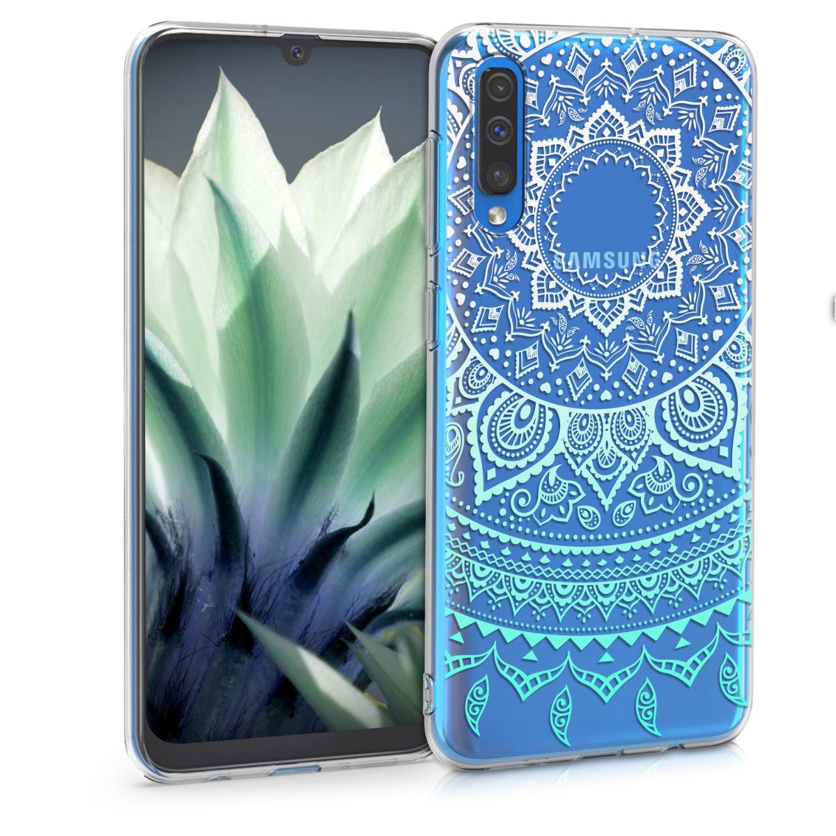 Kvalitní silikonové TPU pouzdro pro Samsung A50 - indické slunce mint zelené / bílé / transparentní